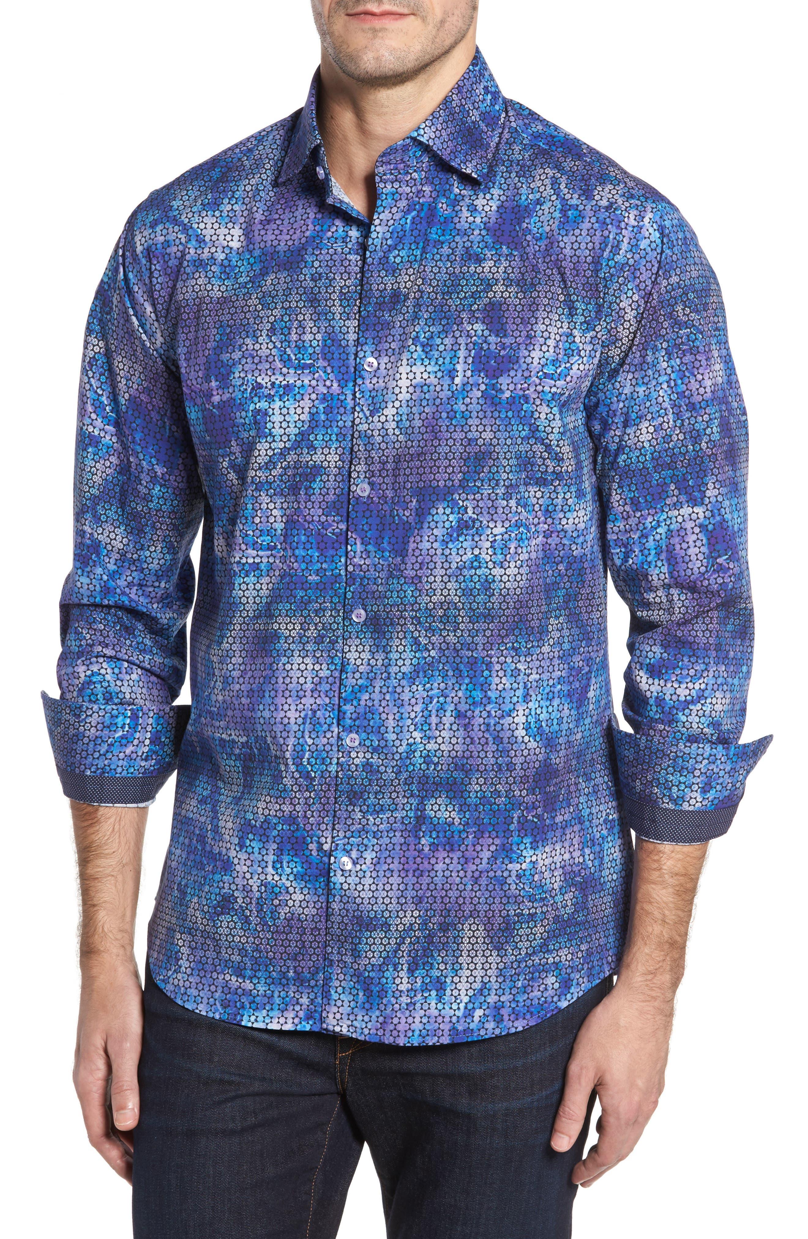 Slim Fit Geometric FX Print Sport Shirt,                             Main thumbnail 1, color,                             Purple