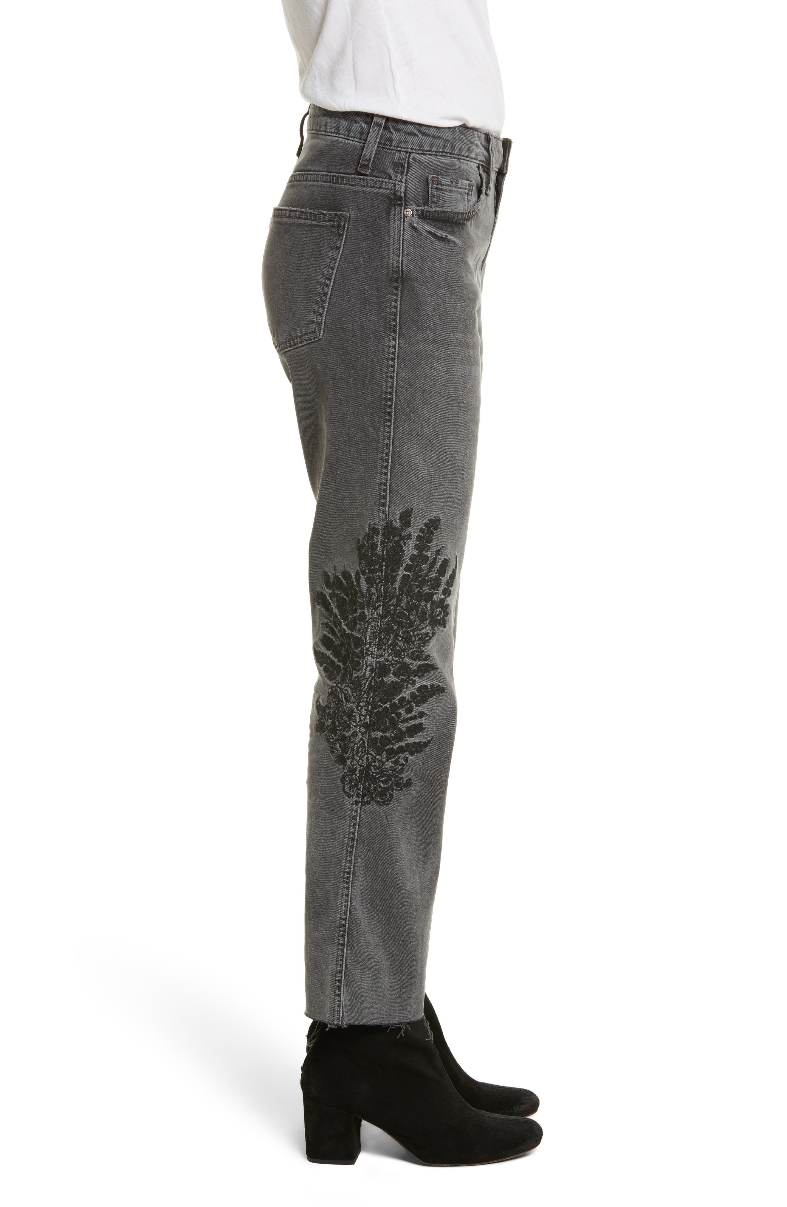 Embroidered Crop Girlfriend Jeans,                             Alternate thumbnail 3, color,                             Grey