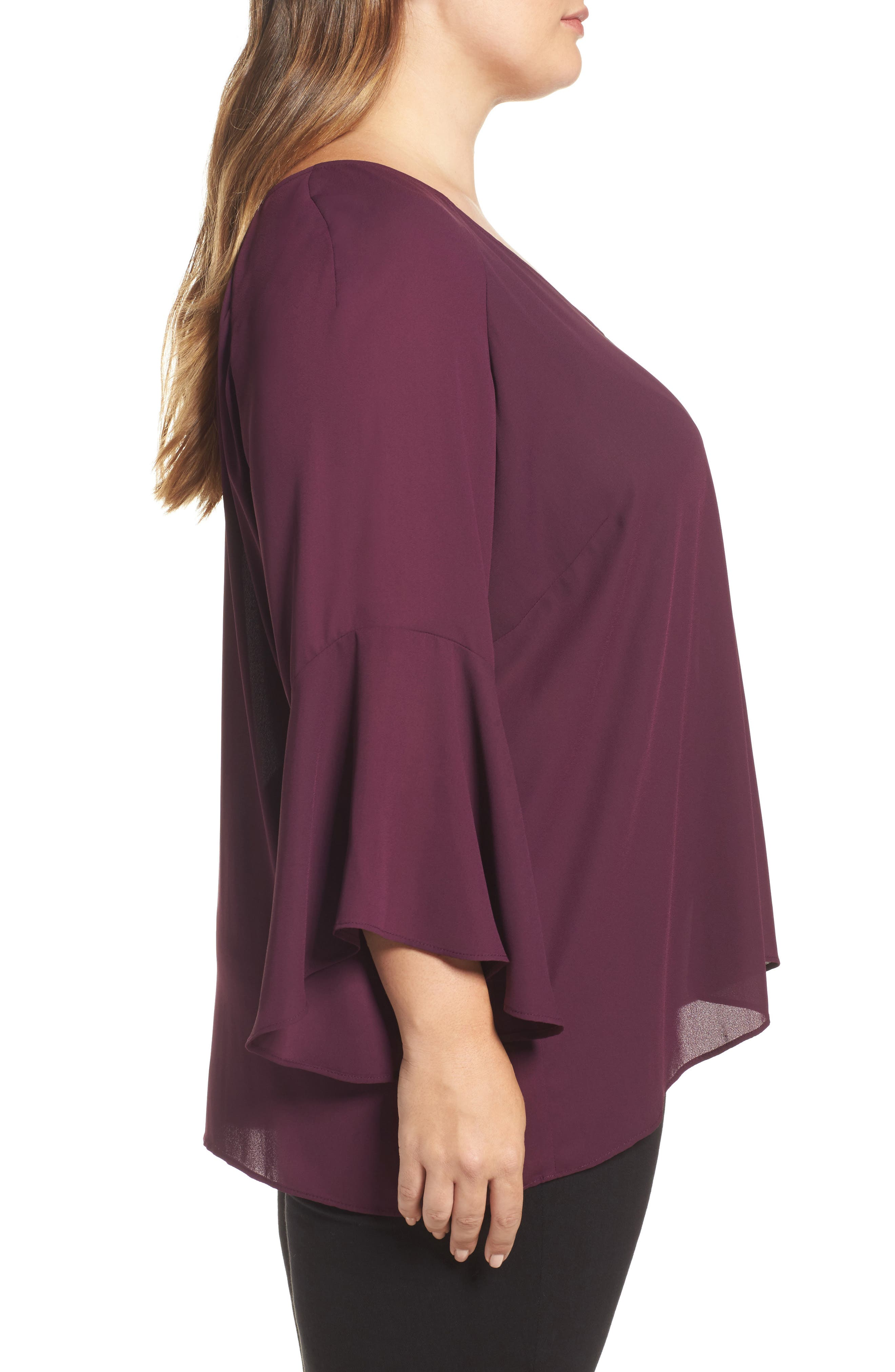 Bell Sleeve Blouse,                             Alternate thumbnail 3, color,                             Eggplant