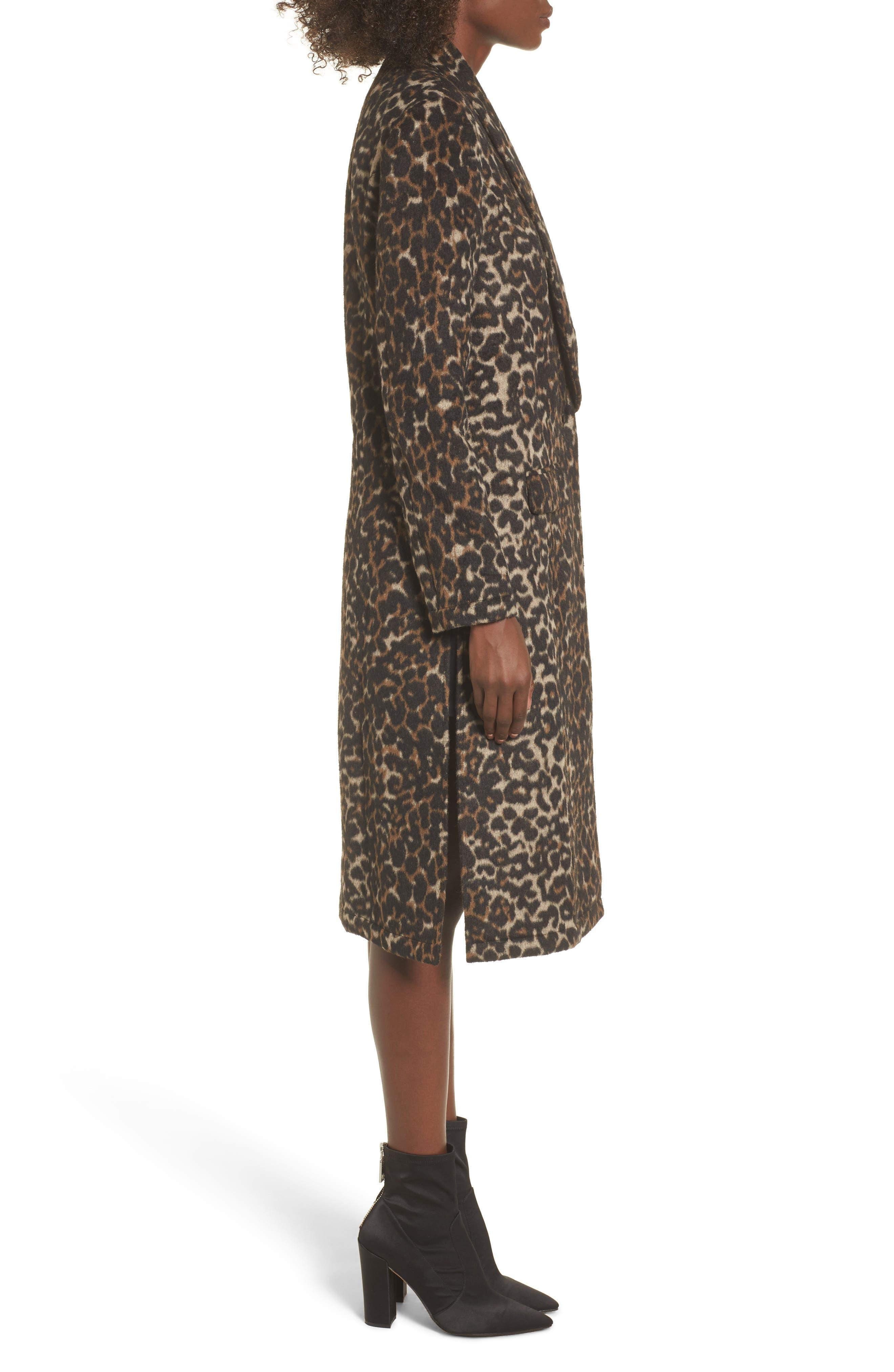 Longline Leopard Print Coat,                             Alternate thumbnail 3, color,                             Black Leopard