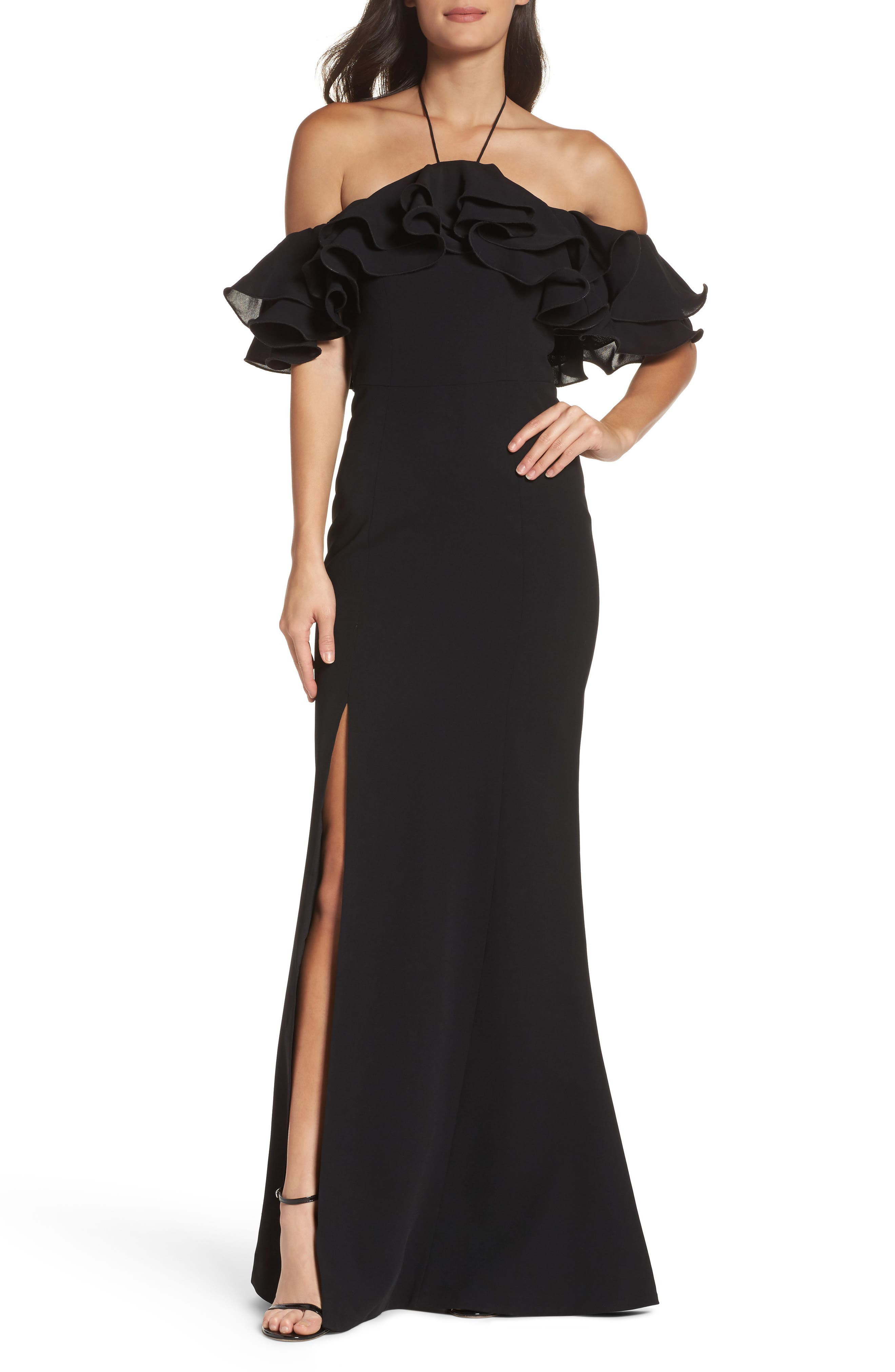 Immerse Ruffle Halter Gown,                             Main thumbnail 1, color,                             Black