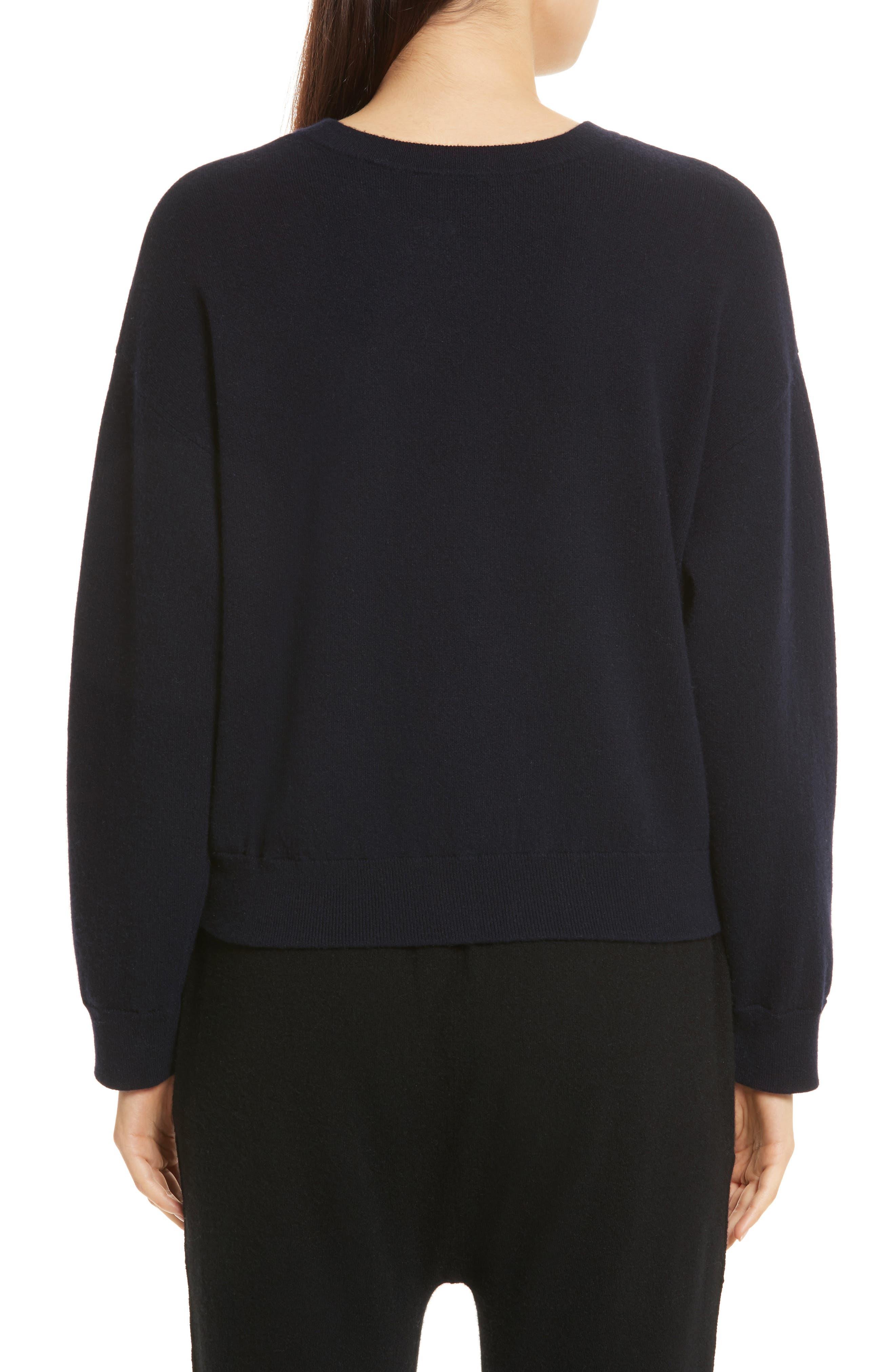 Double Layer Cashmere & Cotton Sweater,                             Alternate thumbnail 2, color,                             Coastal/ Black