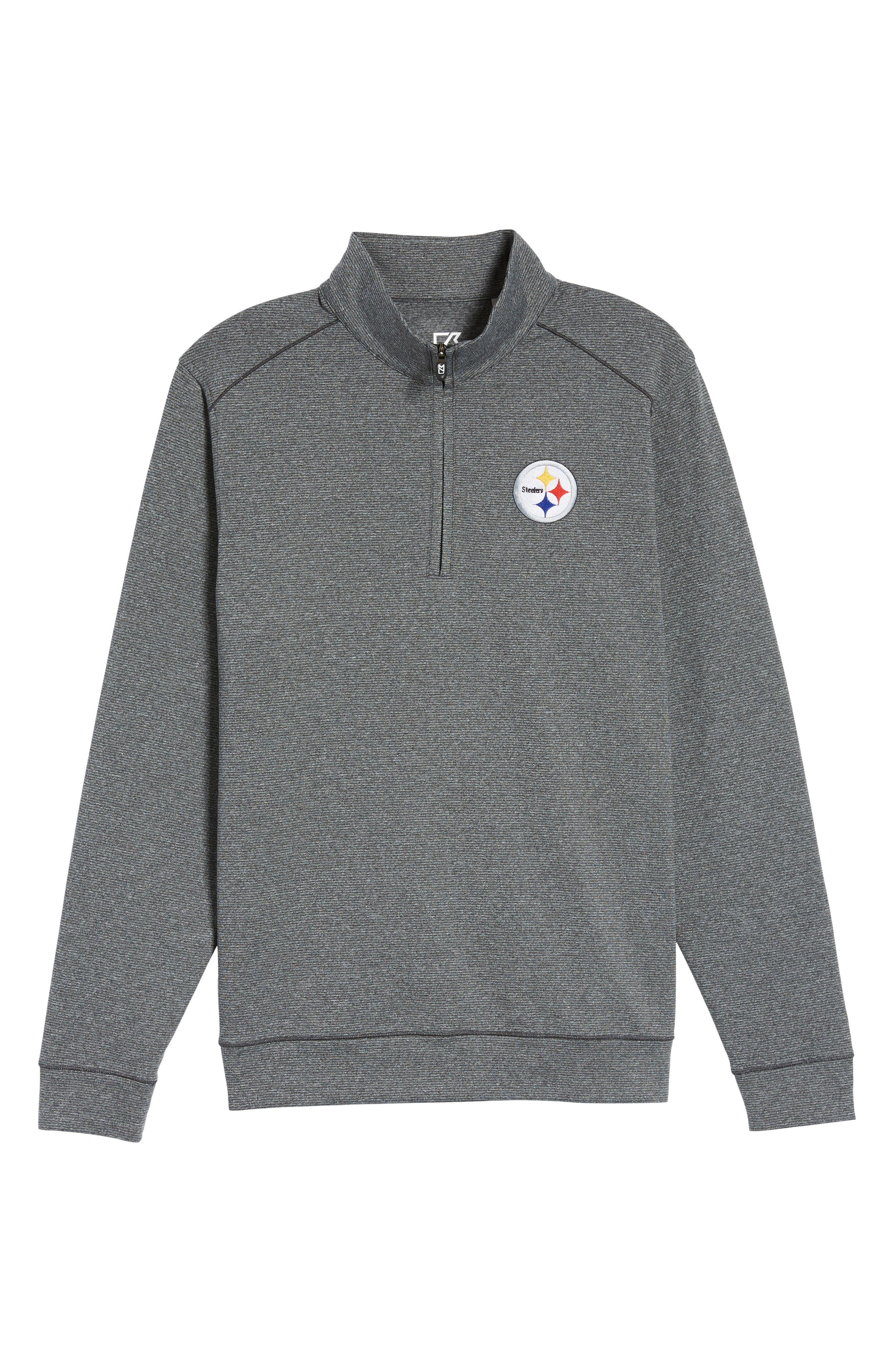 Shoreline - Pittsburgh Steelers Half Zip Pullover,                             Alternate thumbnail 6, color,                             Charcoal Heather