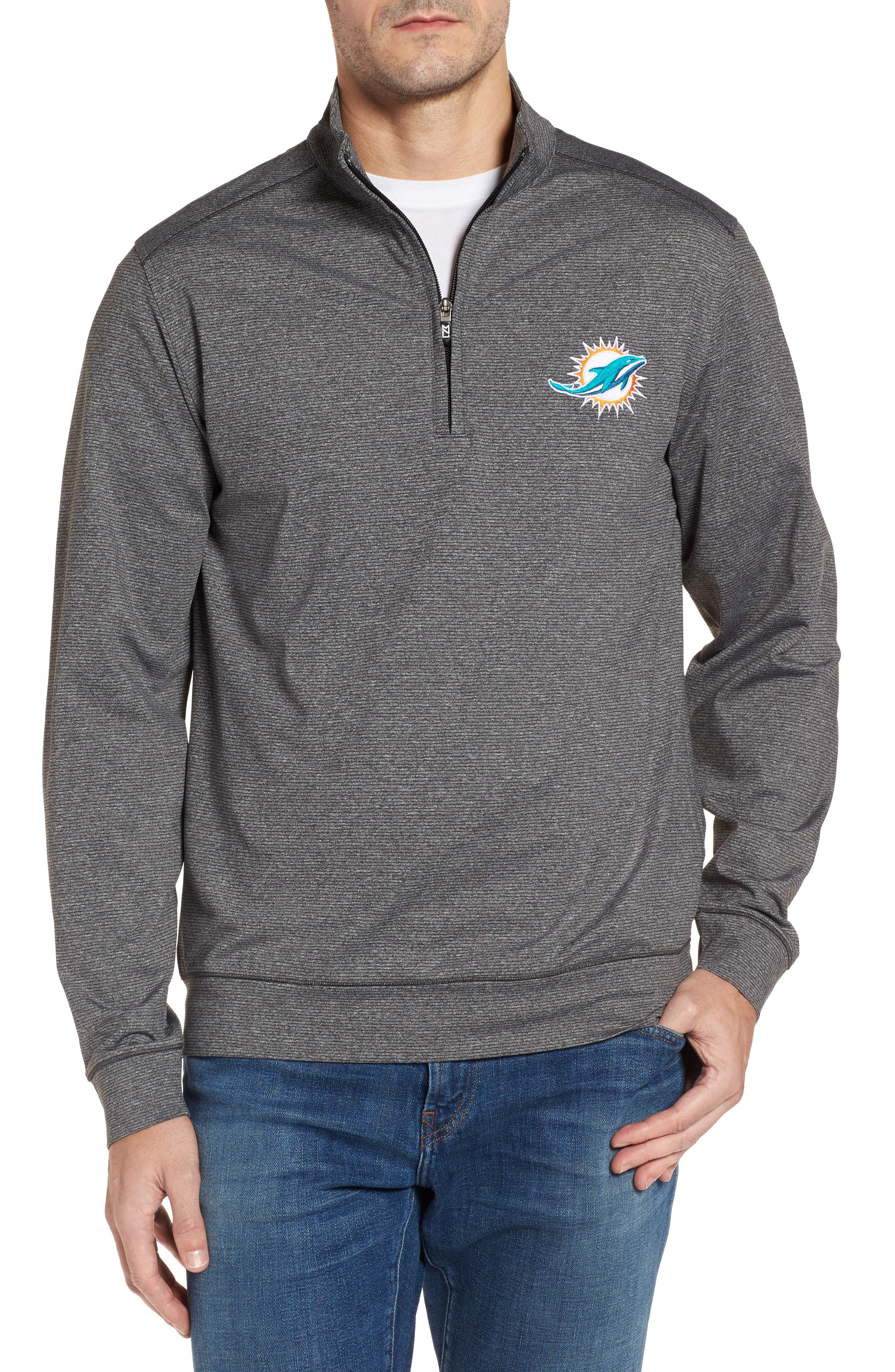Cutter & Butter Shoreline - Miami Dolphins Half Zip Pullover,                         Main,                         color, Charcoal Heather