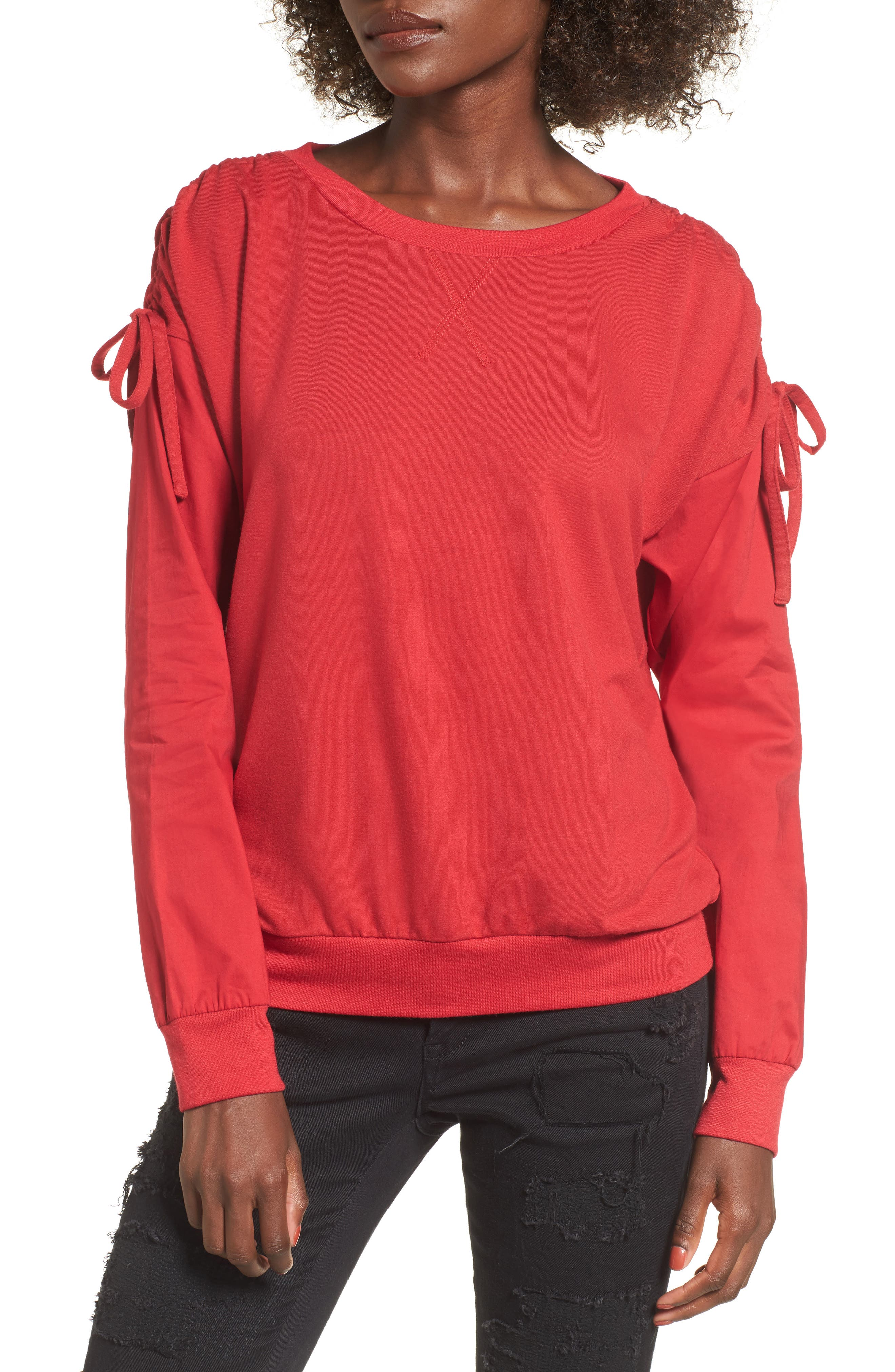 Cinch Sleeve Sweatshirt,                         Main,                         color, Red