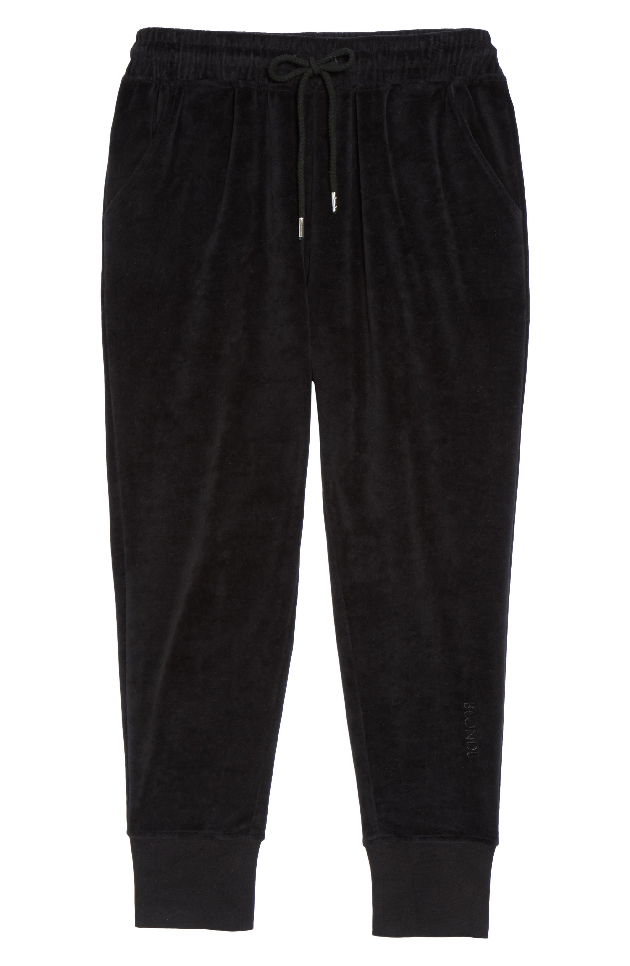 Blonde Embroidered Velour Jogger Pants,                             Alternate thumbnail 5, color,                             Black