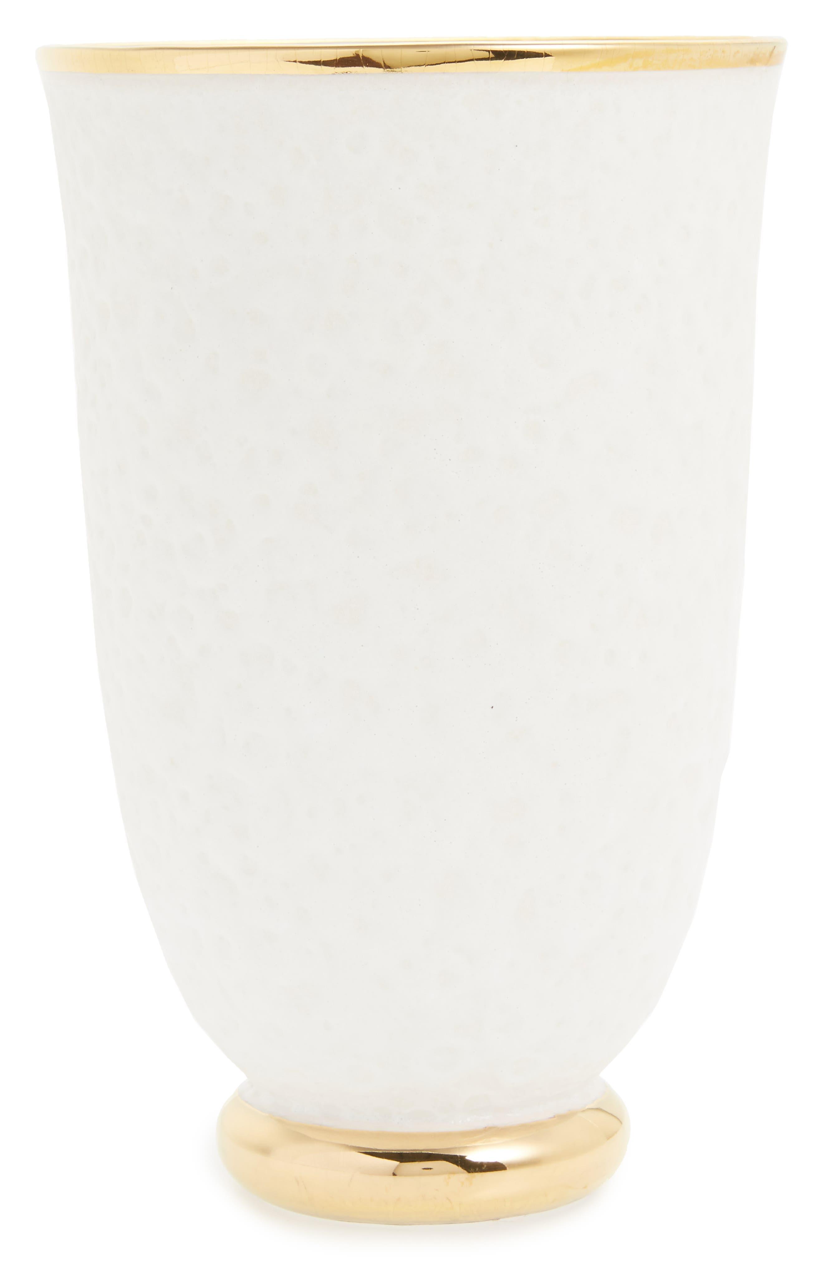 Marion Tapered Ceramic Vase,                         Main,                         color, White