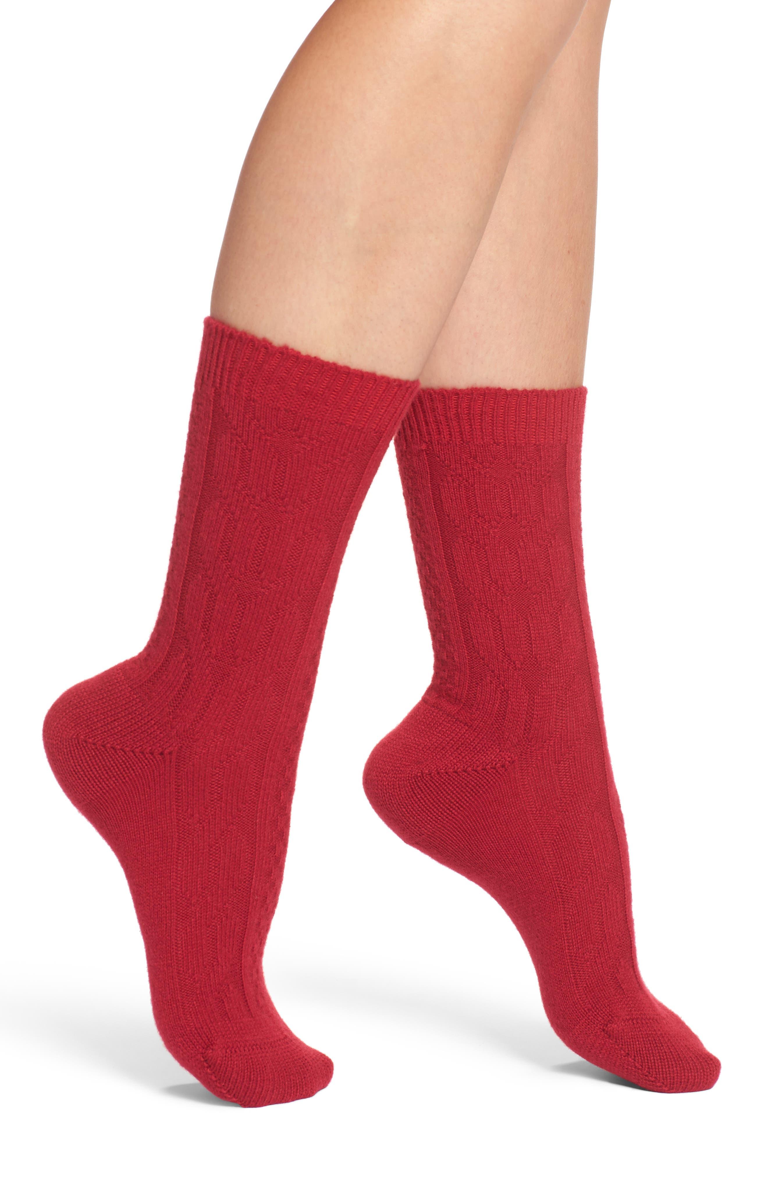 Christina Crew Socks,                         Main,                         color, Raspberry
