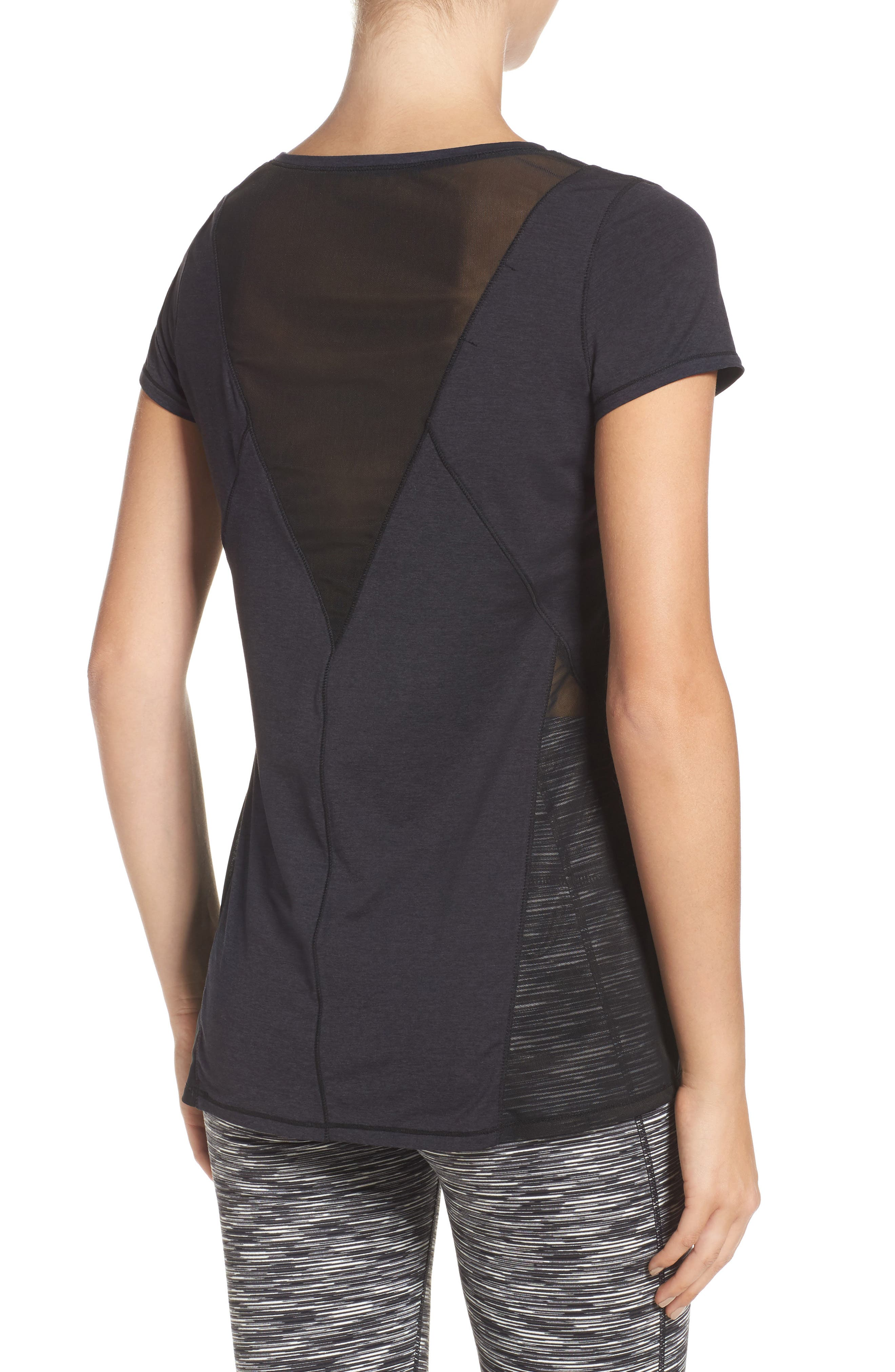 Fiona Mesh Inset Tee,                             Alternate thumbnail 7, color,                             Black