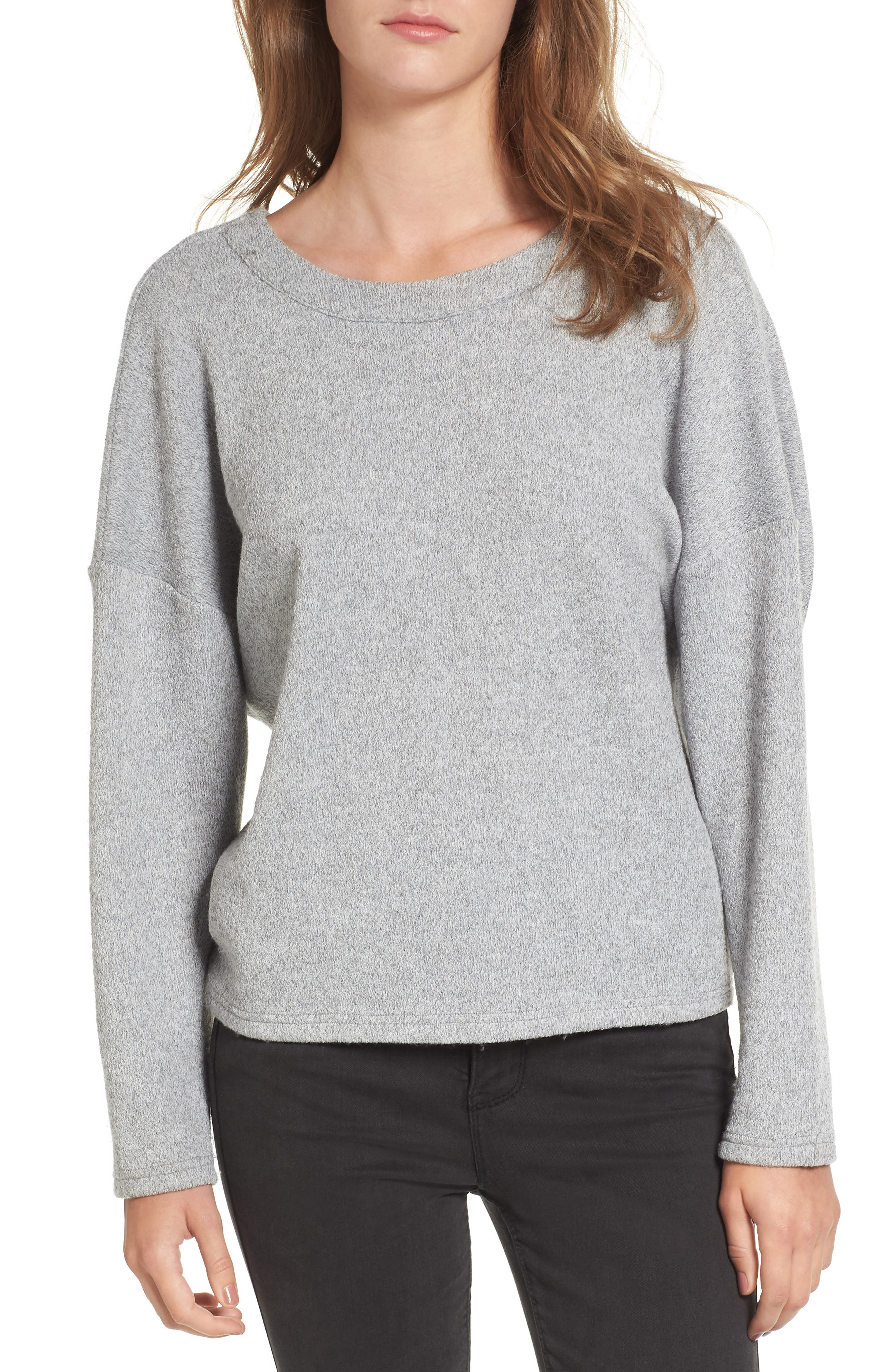 Knot Back Sweatshirt,                             Alternate thumbnail 2, color,                             Heather-Grey