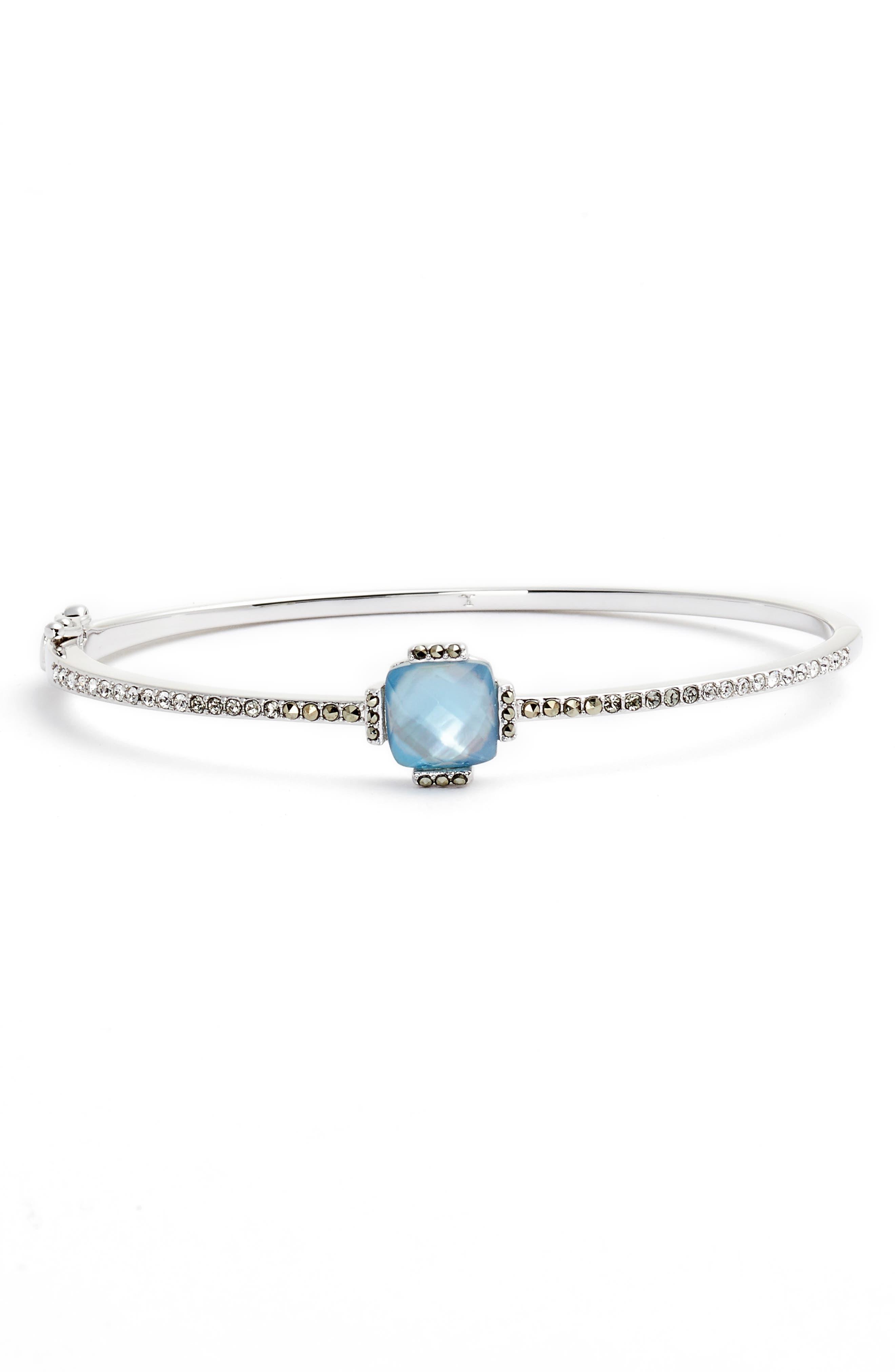 Stone Hinged Bangle Bracelet,                             Main thumbnail 1, color,                             Blue/ Silver