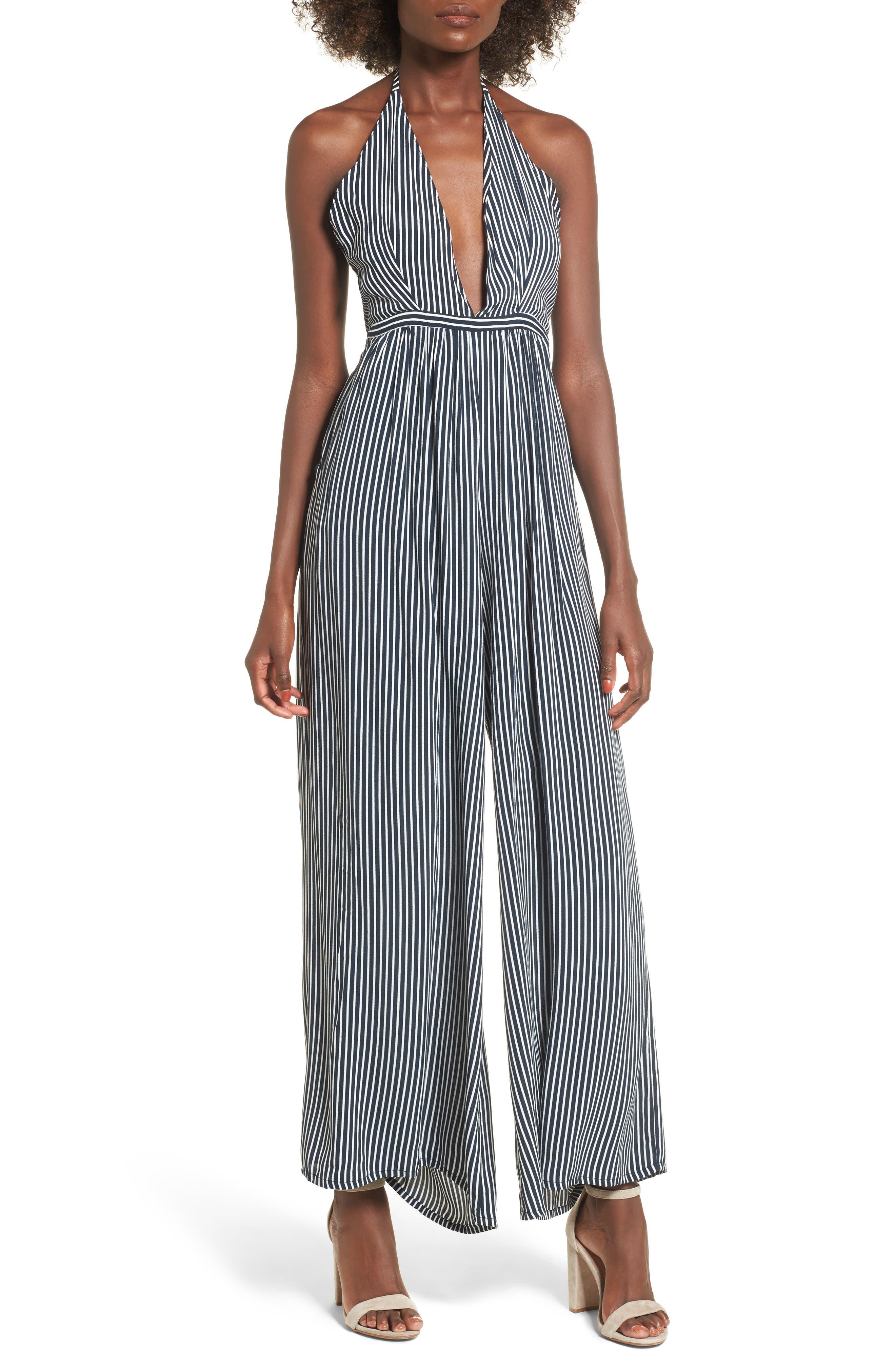 Riley Stripe Halter Jumpsuit,                         Main,                         color, Cap Maison Stripe Print