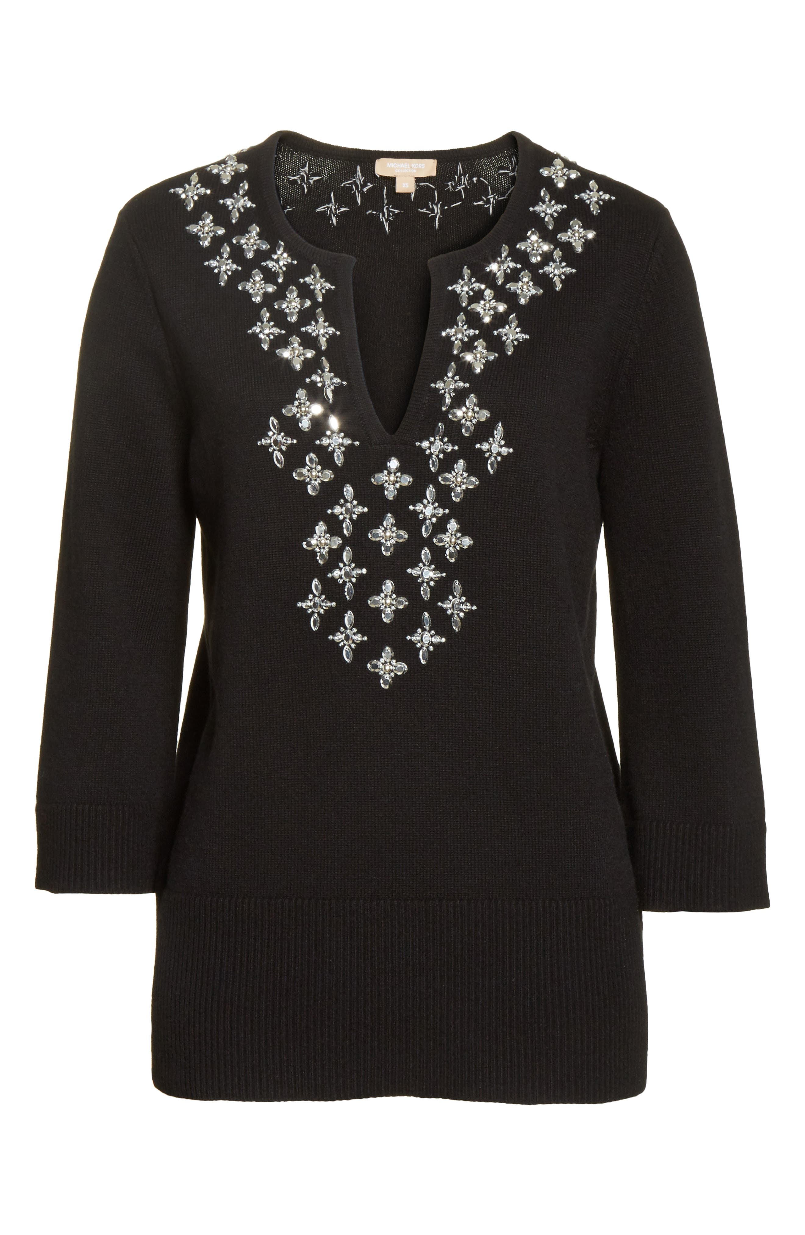 Embellished Cashmere Tunic,                             Alternate thumbnail 7, color,                             Black