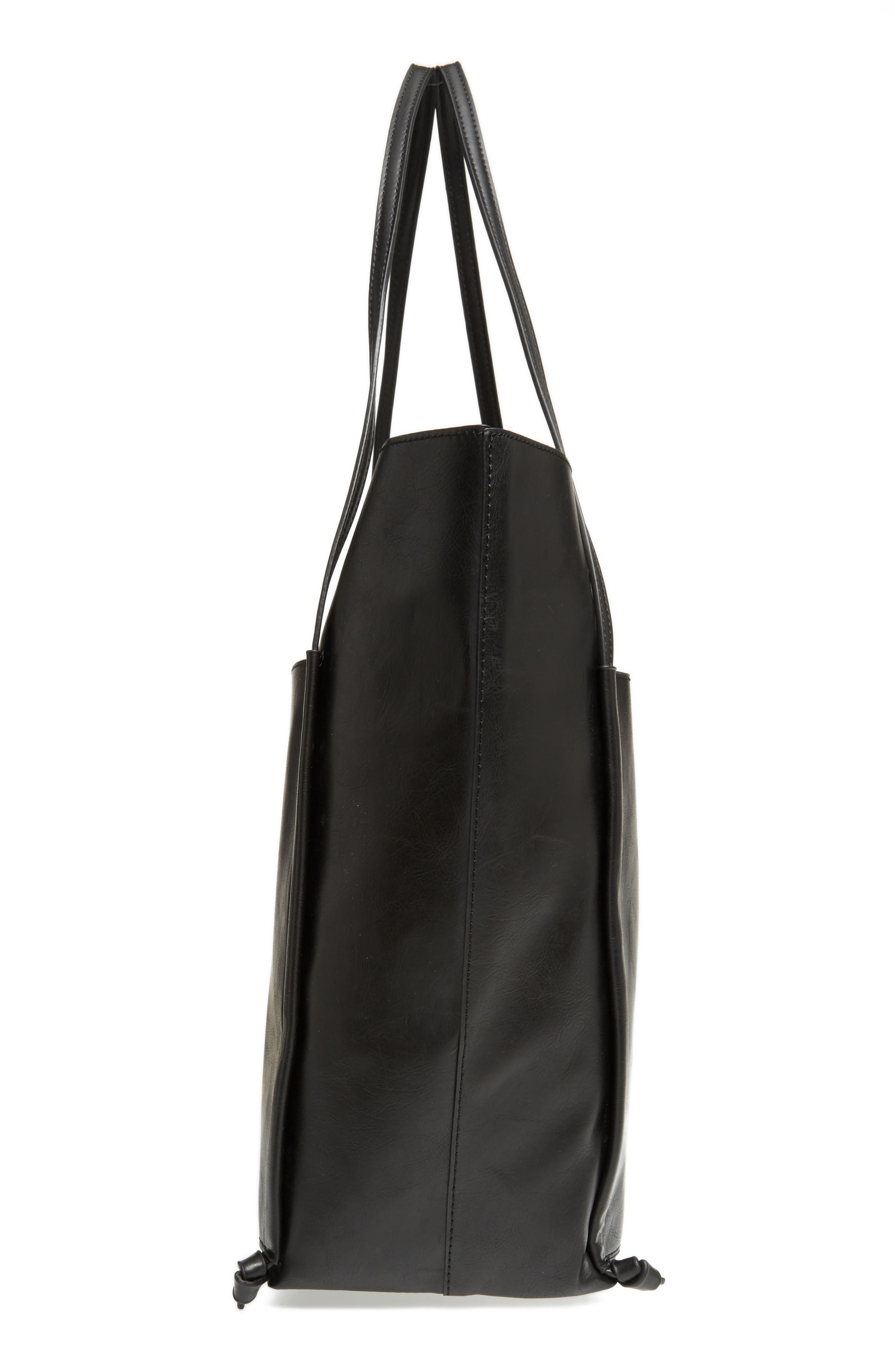 Harley Faux Leather Tote,                             Alternate thumbnail 4, color,                             Black