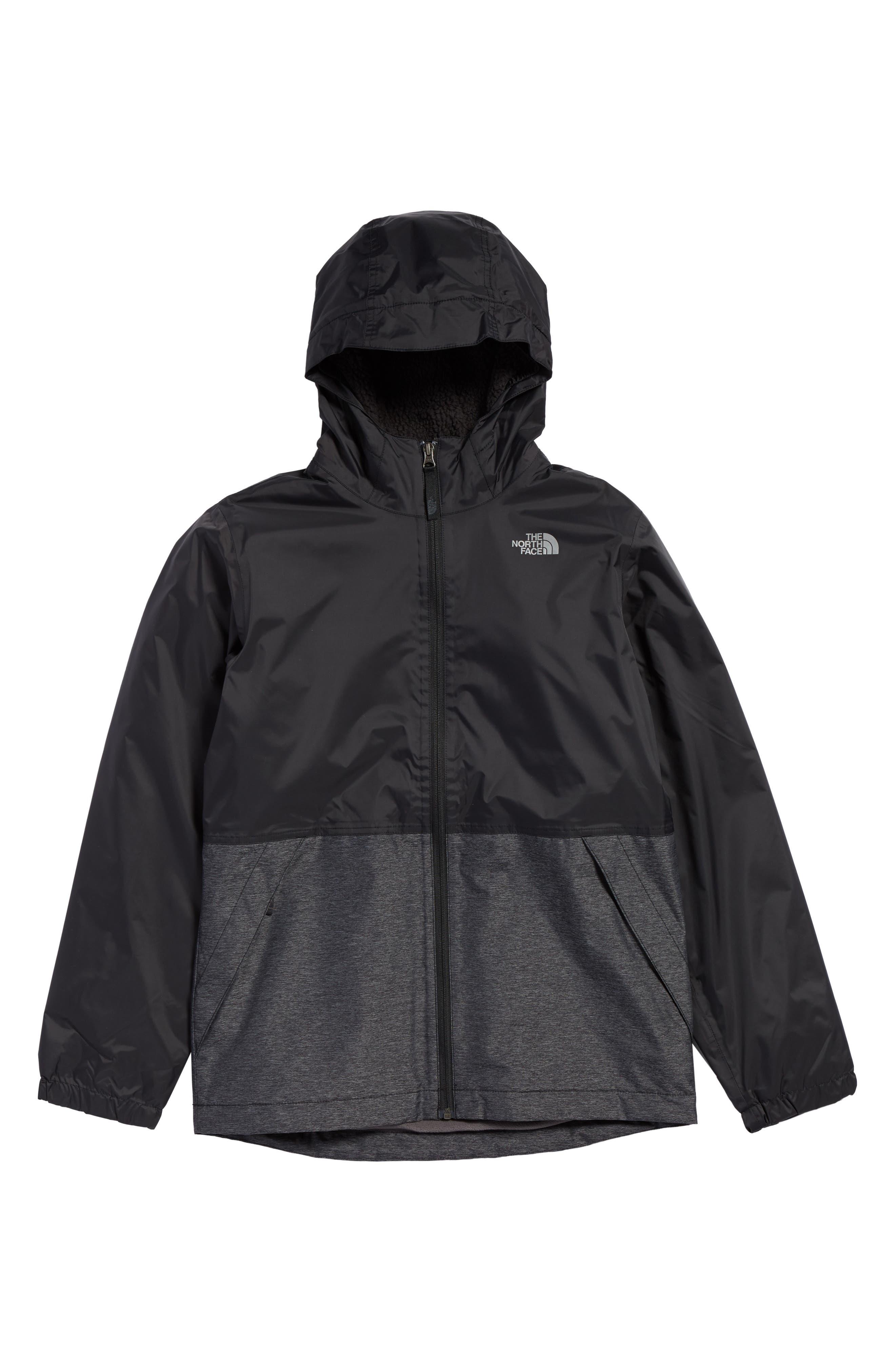 Warm Storm Hooded Waterproof Jacket,                         Main,                         color, Tnf Black