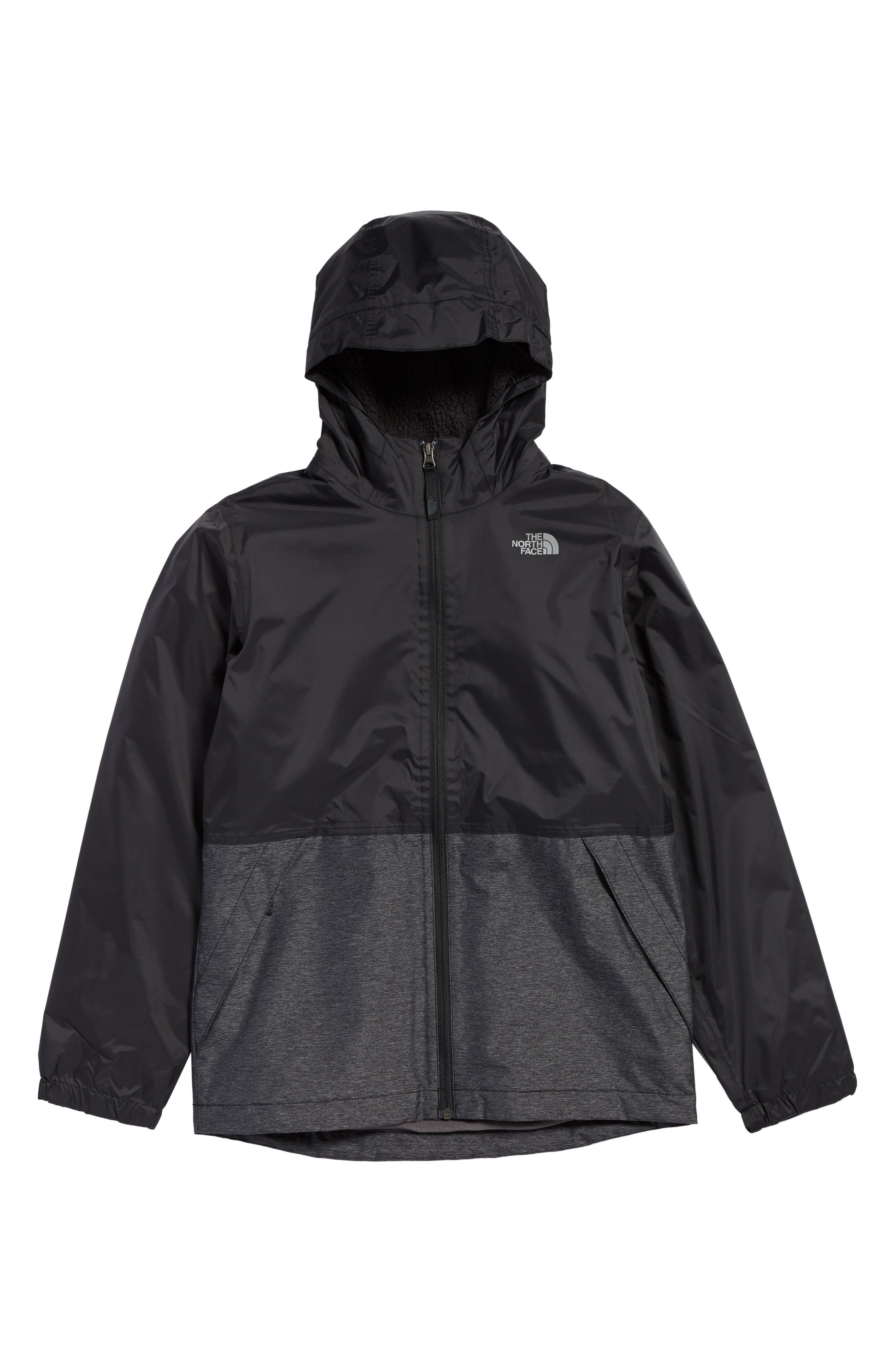 Warm Storm Hooded Waterproof Jacket,                         Main,                         color, Tnf Black