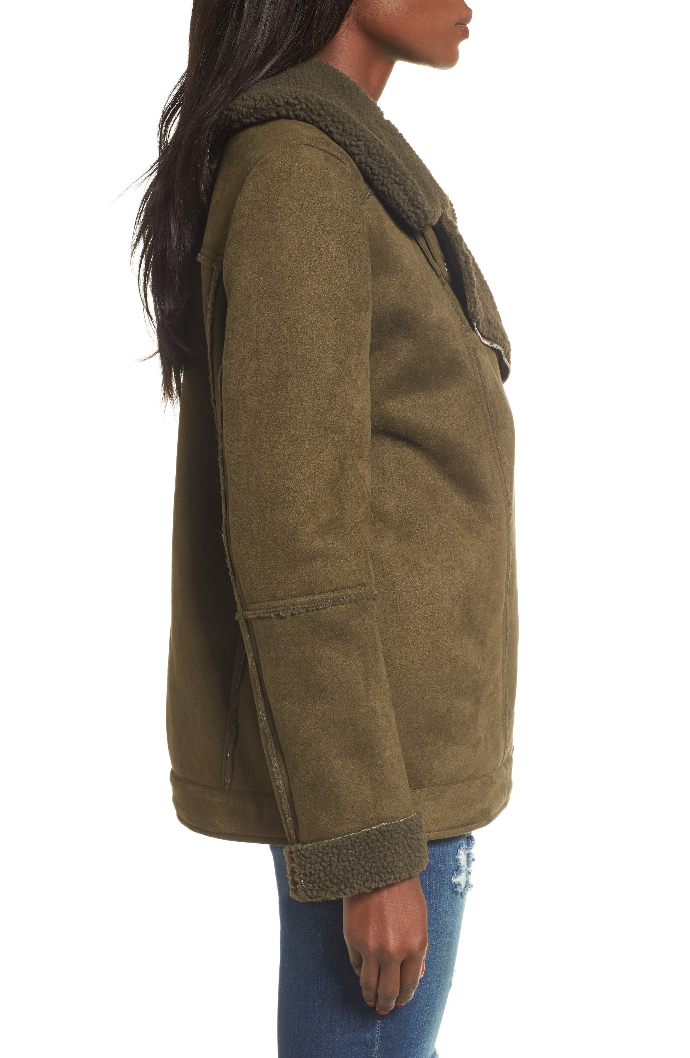 Dallas Faux Shearling Jacket,                             Alternate thumbnail 5, color,                             Olive