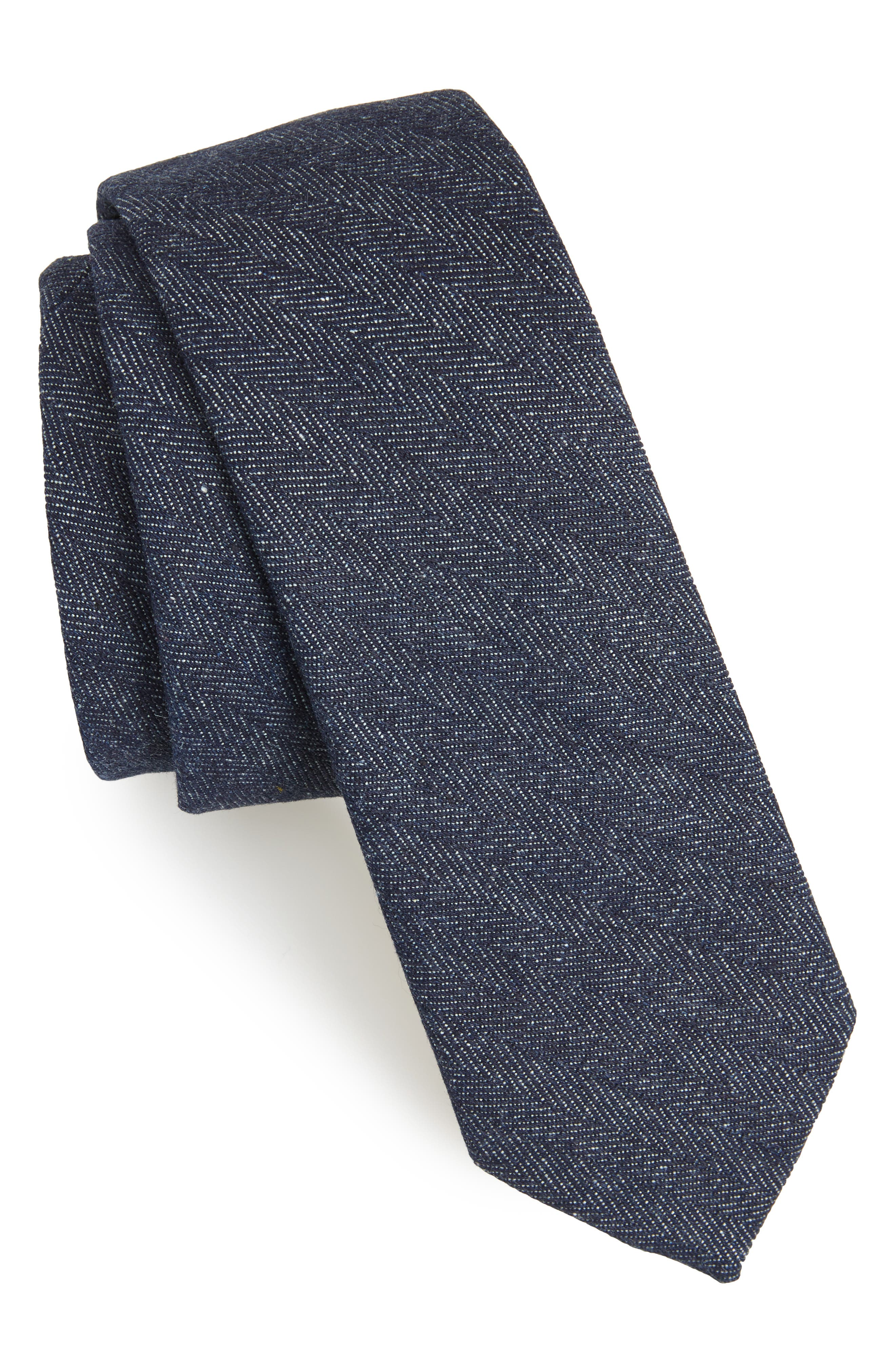 Thames Solid Skinny Tie,                         Main,                         color, Navy