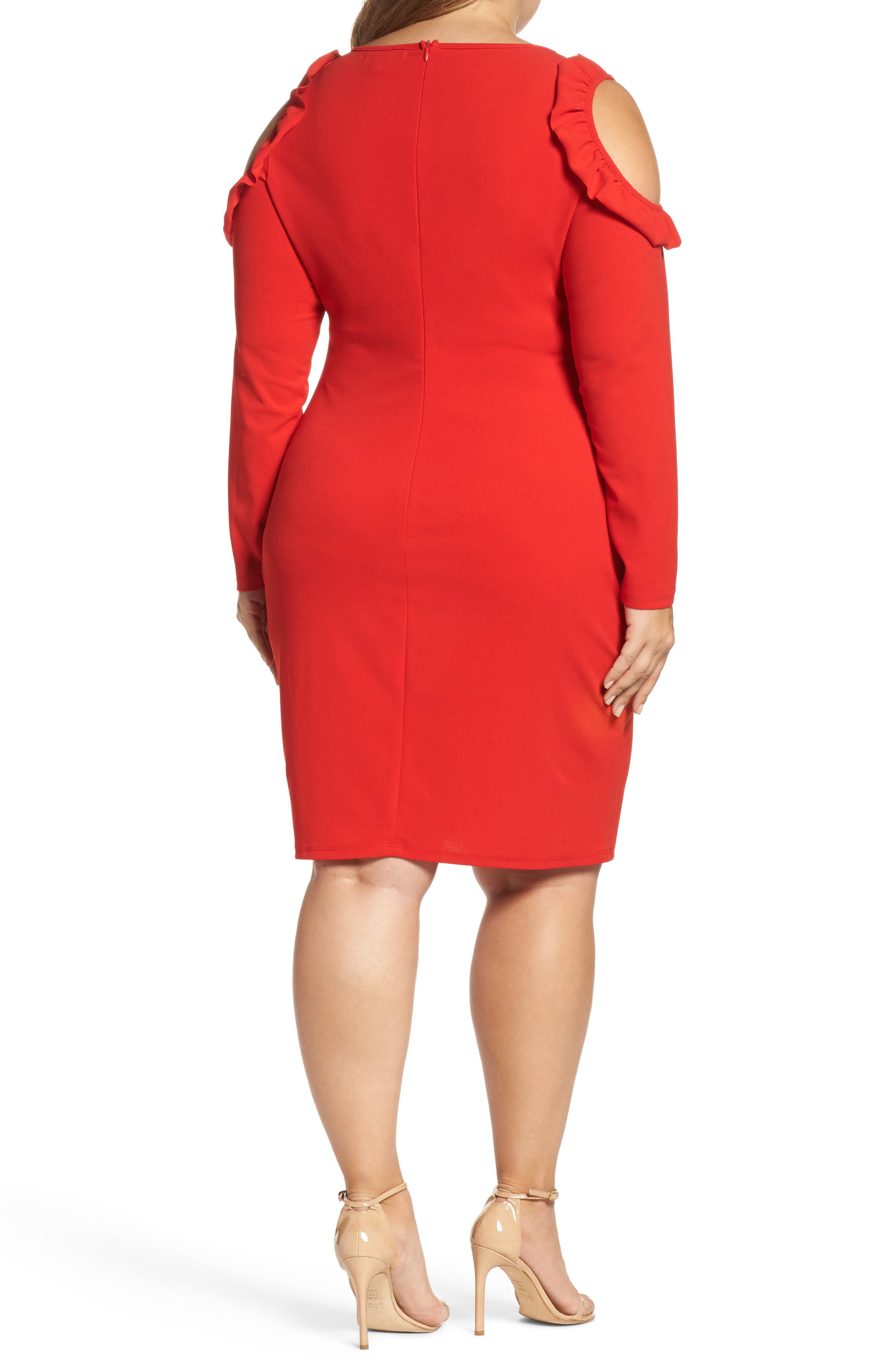 Cold Shoulder Knit Sheath Dress,                             Alternate thumbnail 2, color,                             Red