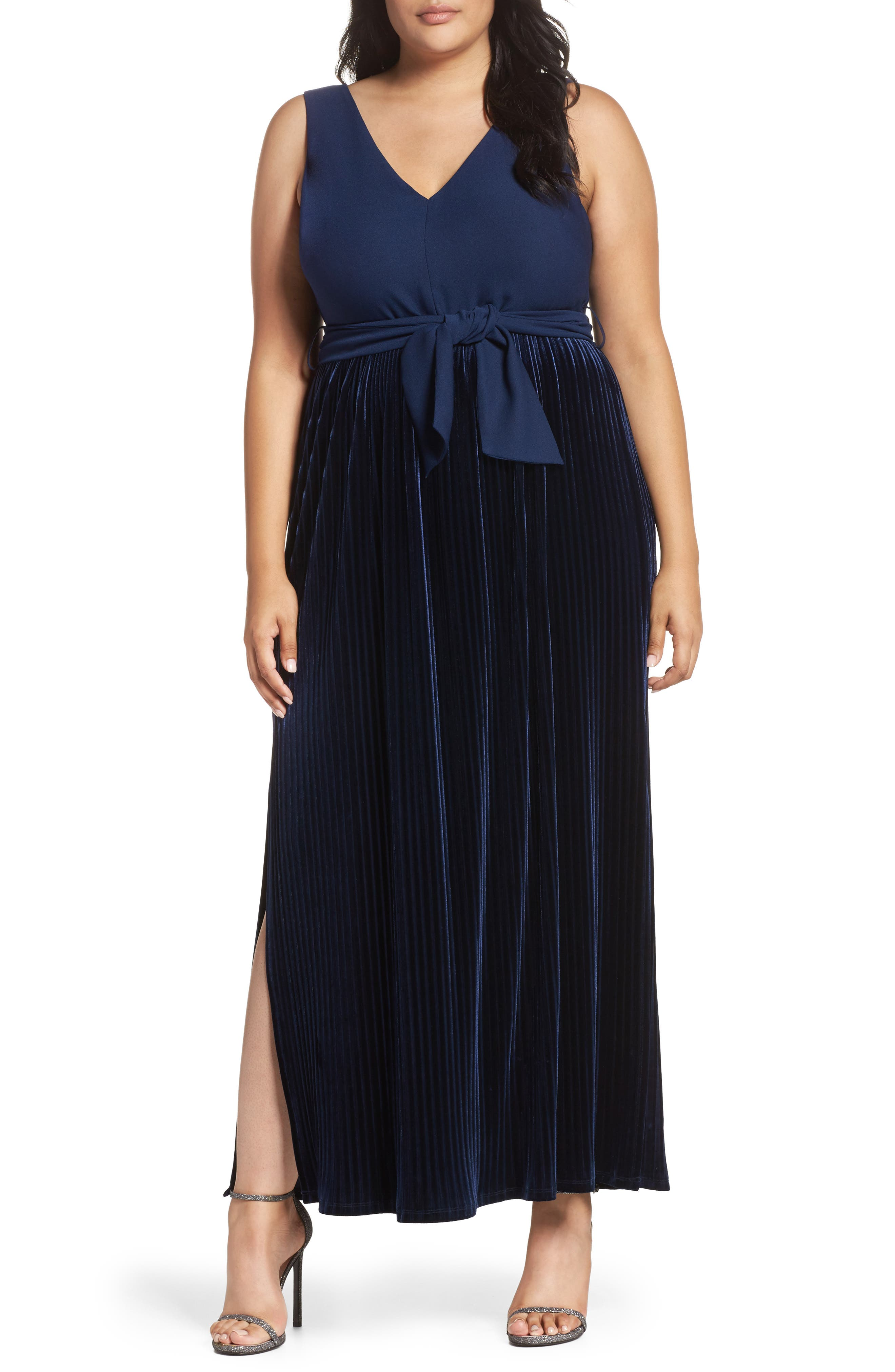 Alternate Image 1 Selected - LOST INK Crepe & Pleat Velvet Maxi Dress (Plus Size)