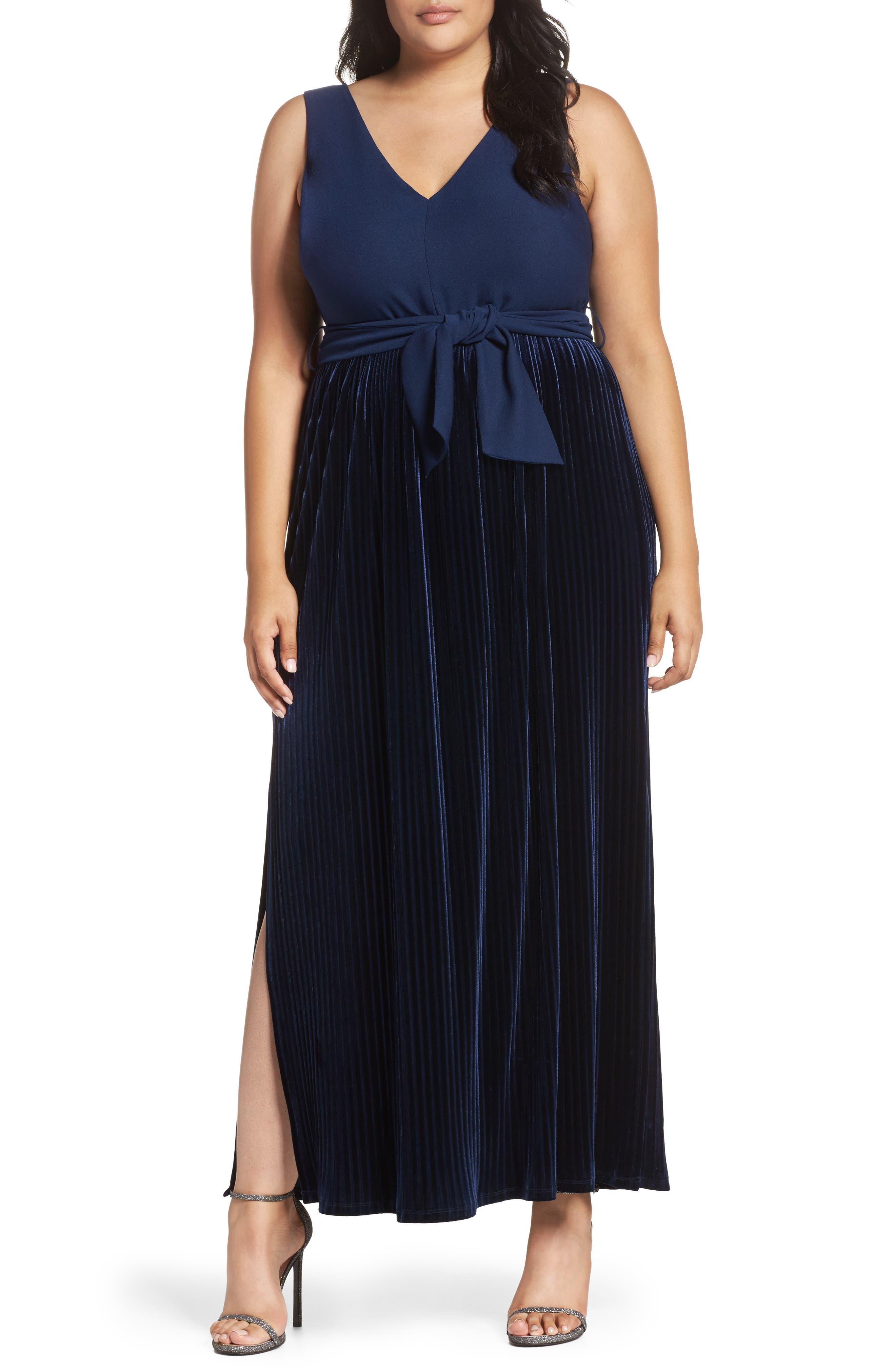 Crepe & Pleat Velvet Maxi Dress,                         Main,                         color, Navy