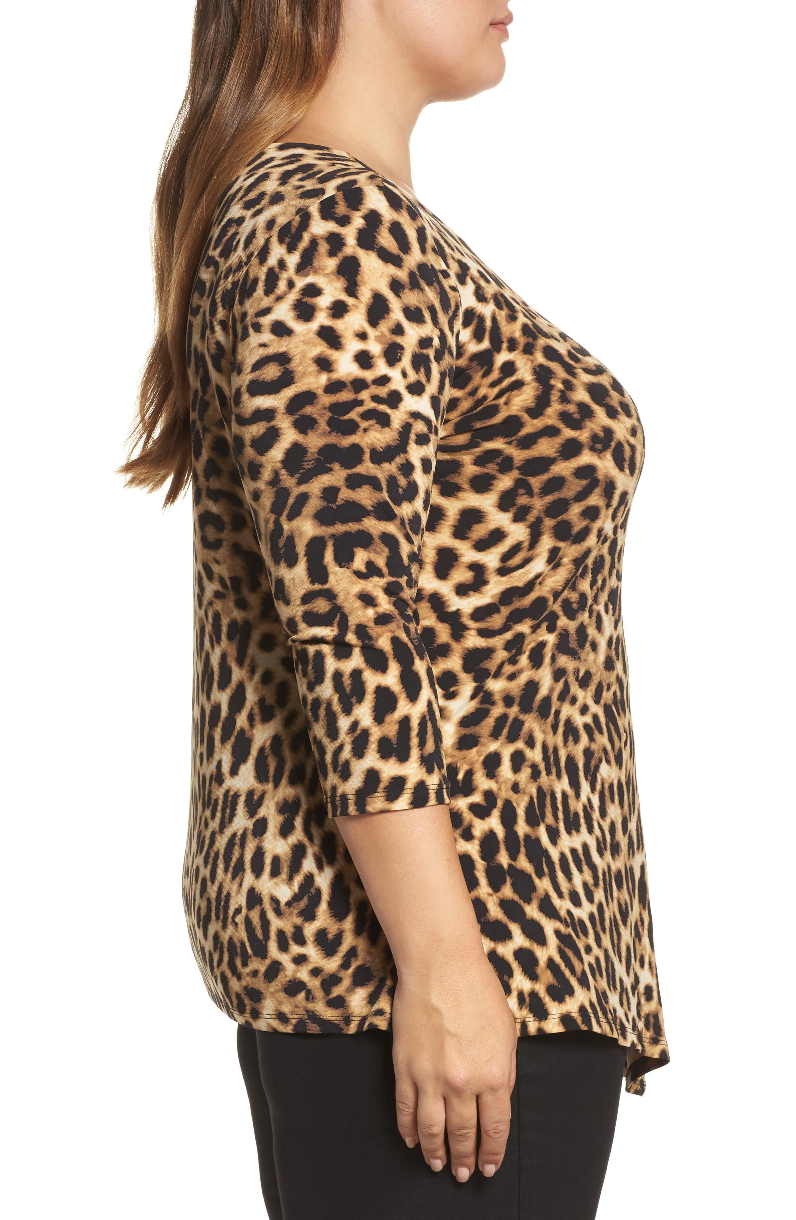 Alternate Image 3  - Vince Camuto Side Pleat Leopard Print Top (Plus Size)