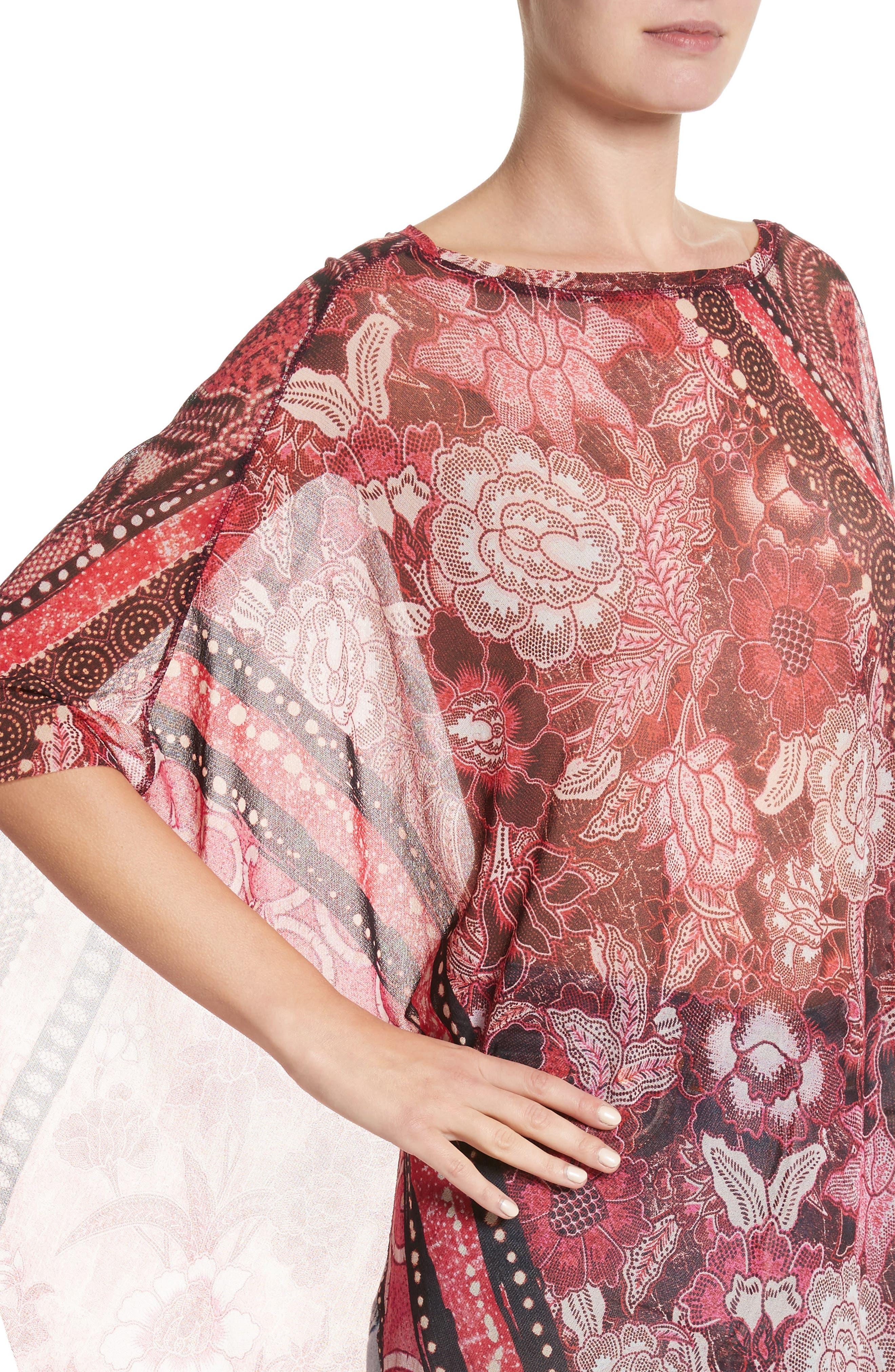 Alternate Image 4  - Fuzzi Print Tulle Handkerchief Hem Shawl Top