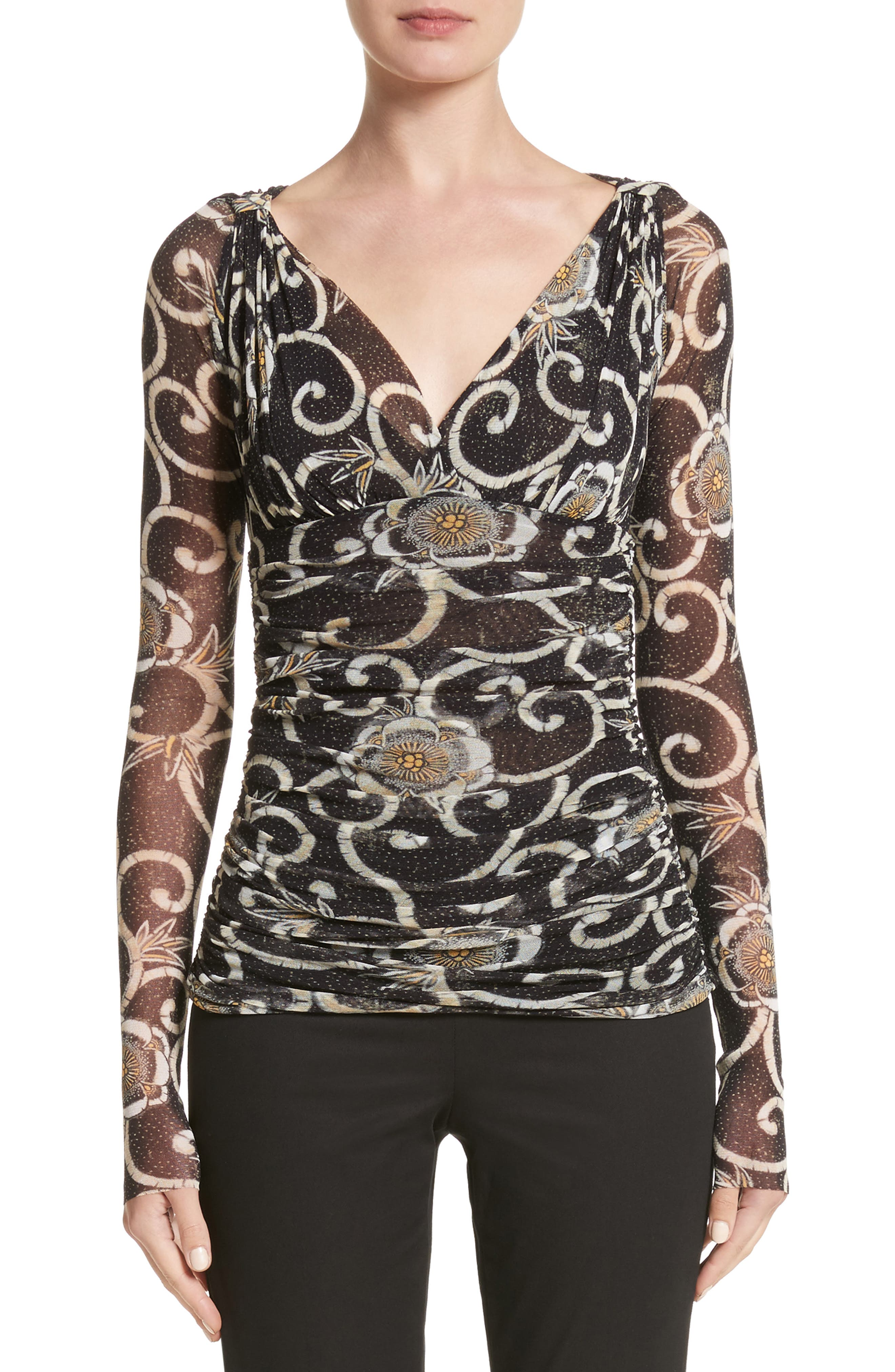 Print Tulle Ruched Top,                         Main,                         color, Nero