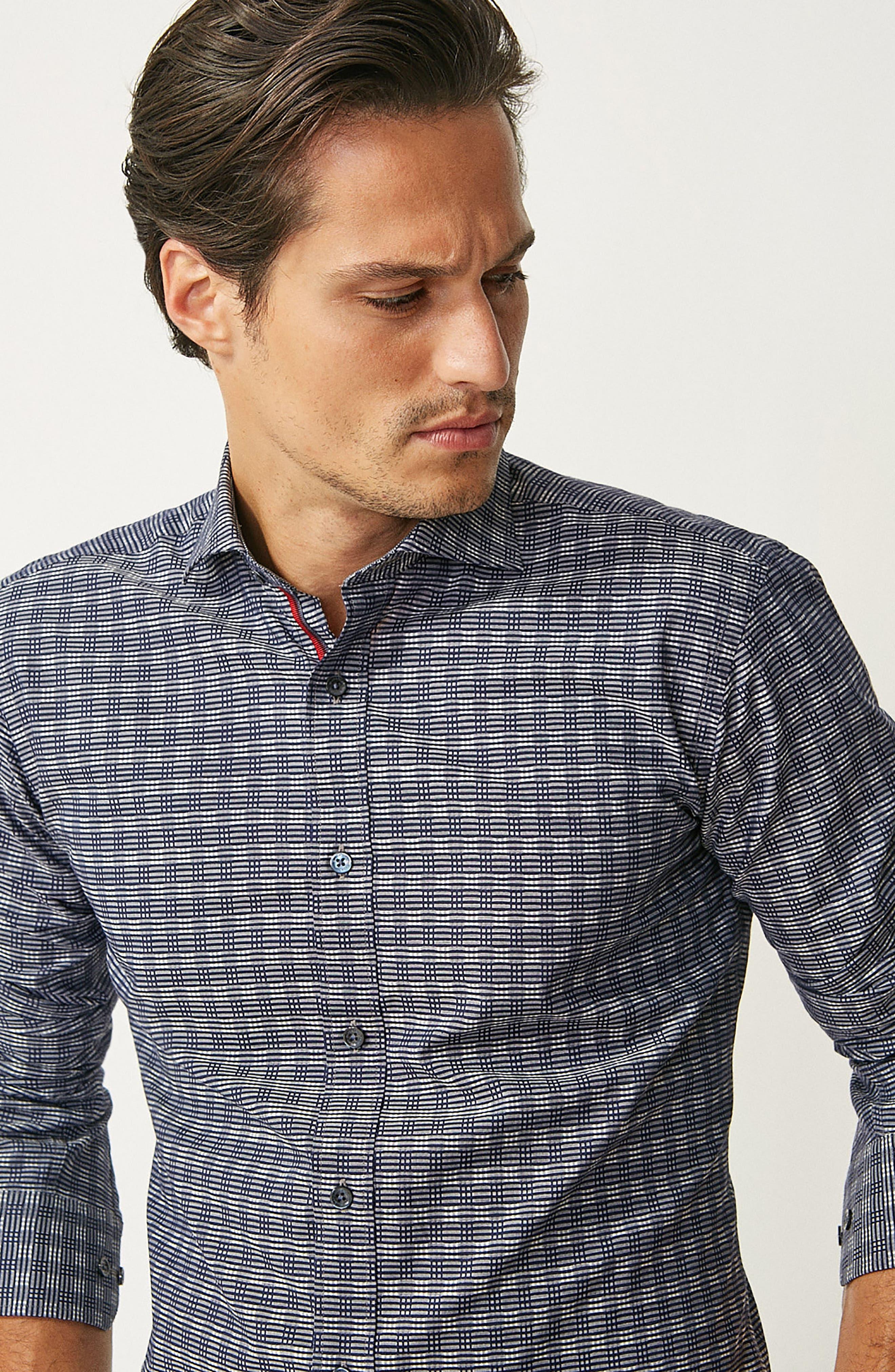 Alternate Image 7  - Bugatchi Shaped Fit Print Sport Shirt