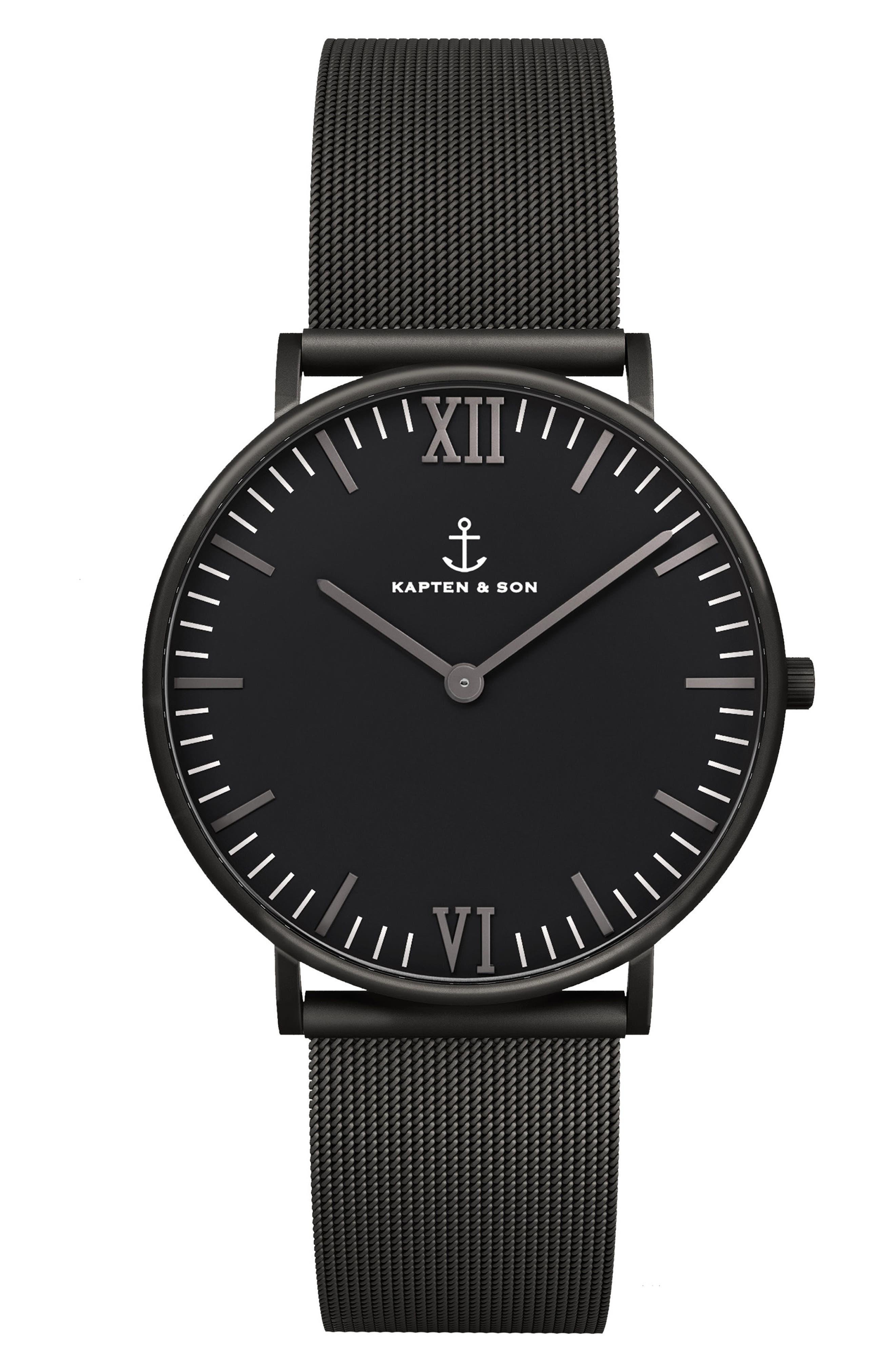 Campus Mesh Strap Watch, 40mm,                             Main thumbnail 1, color,                             Black