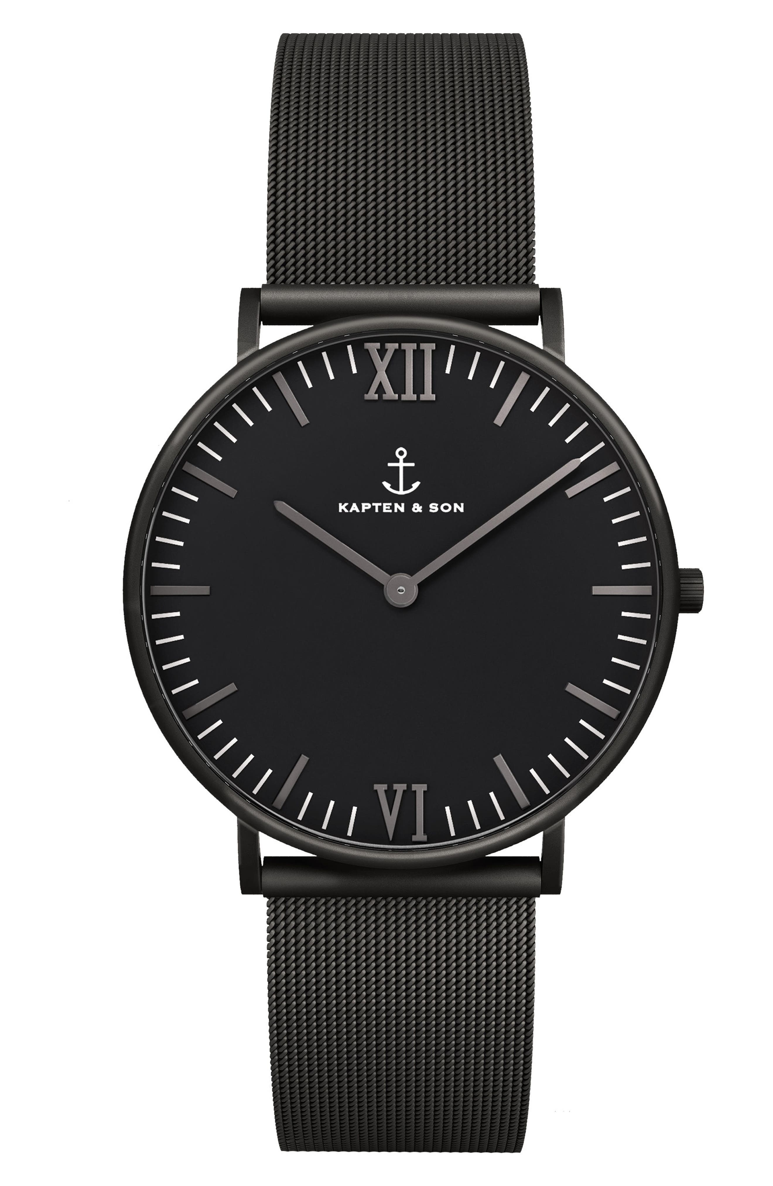 Campus Mesh Strap Watch, 40mm,                         Main,                         color, Black
