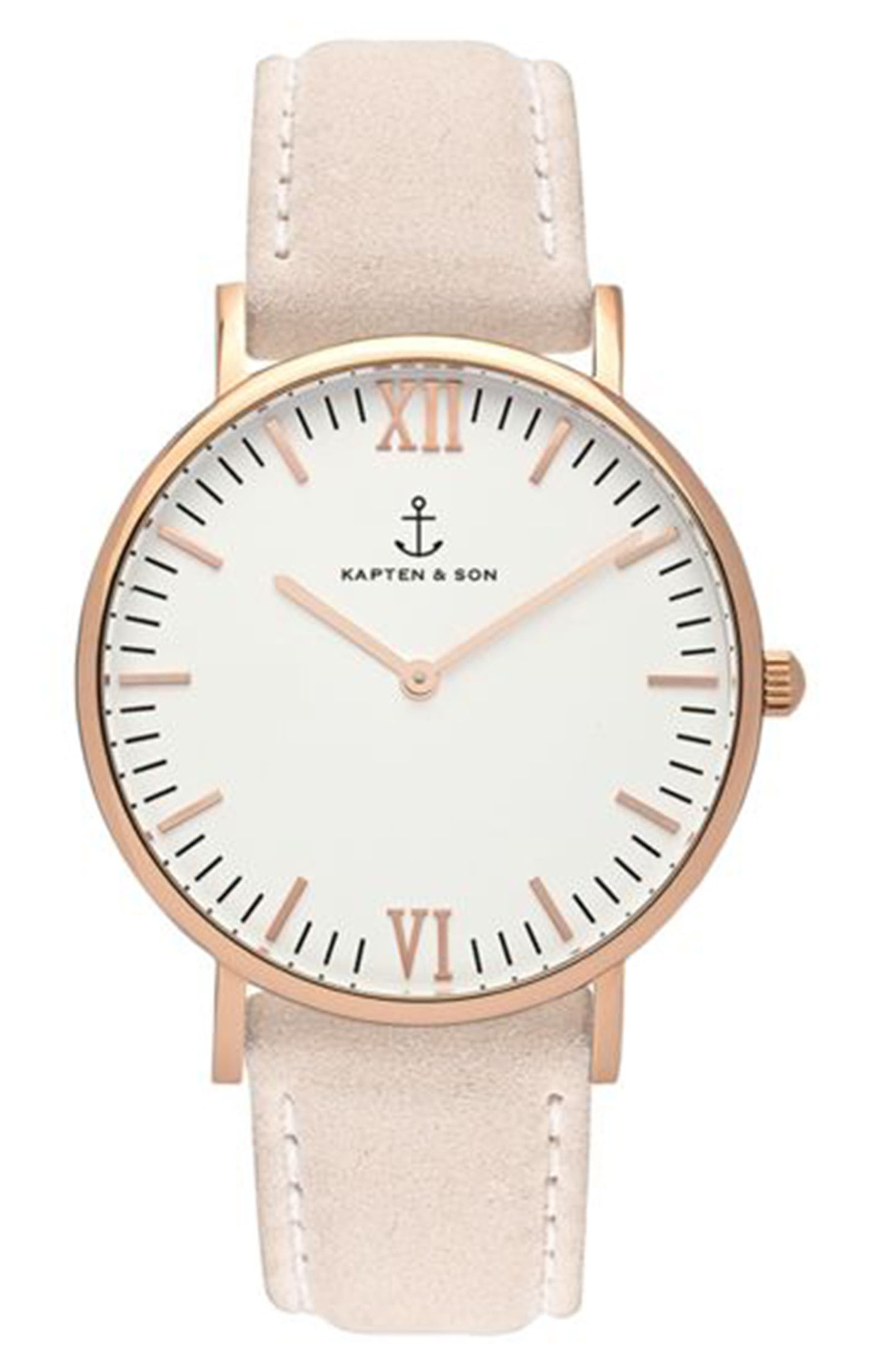 Campina Leather Strap Watch, 36mm,                         Main,                         color, Nude/ White/ Rose Gold