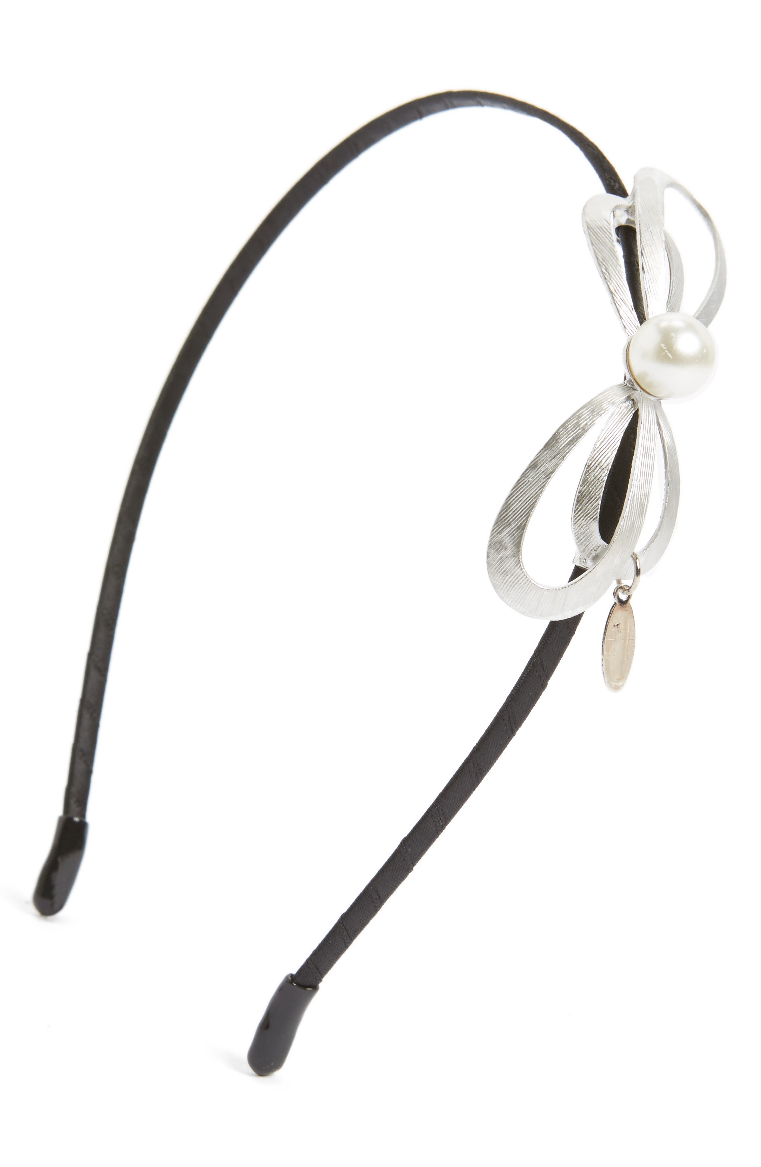 Sweet Bow Headband,                             Main thumbnail 1, color,                             Silver/Black