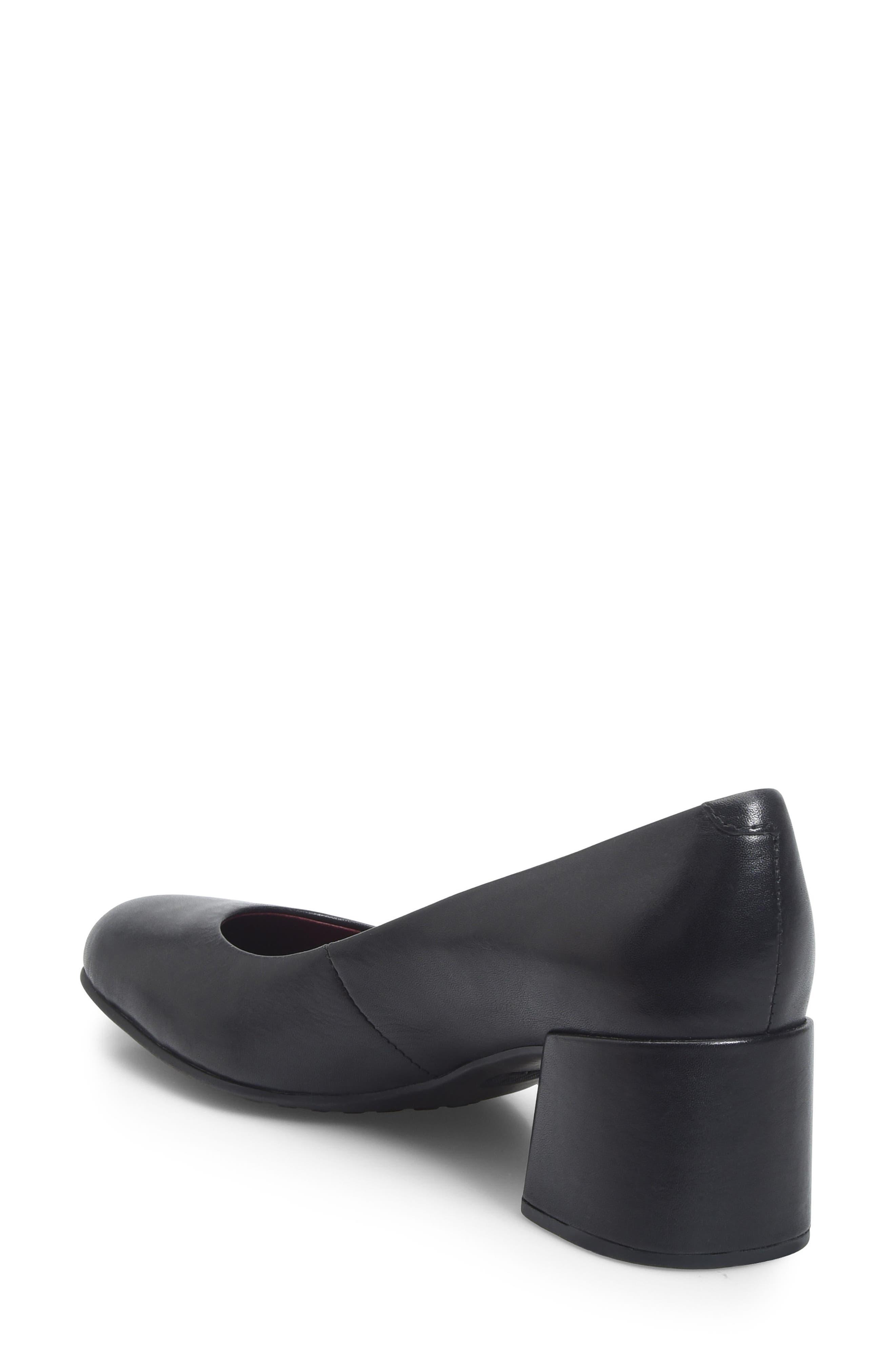 Magnolia Block Heel Pump,                             Alternate thumbnail 2, color,                             Black Leather