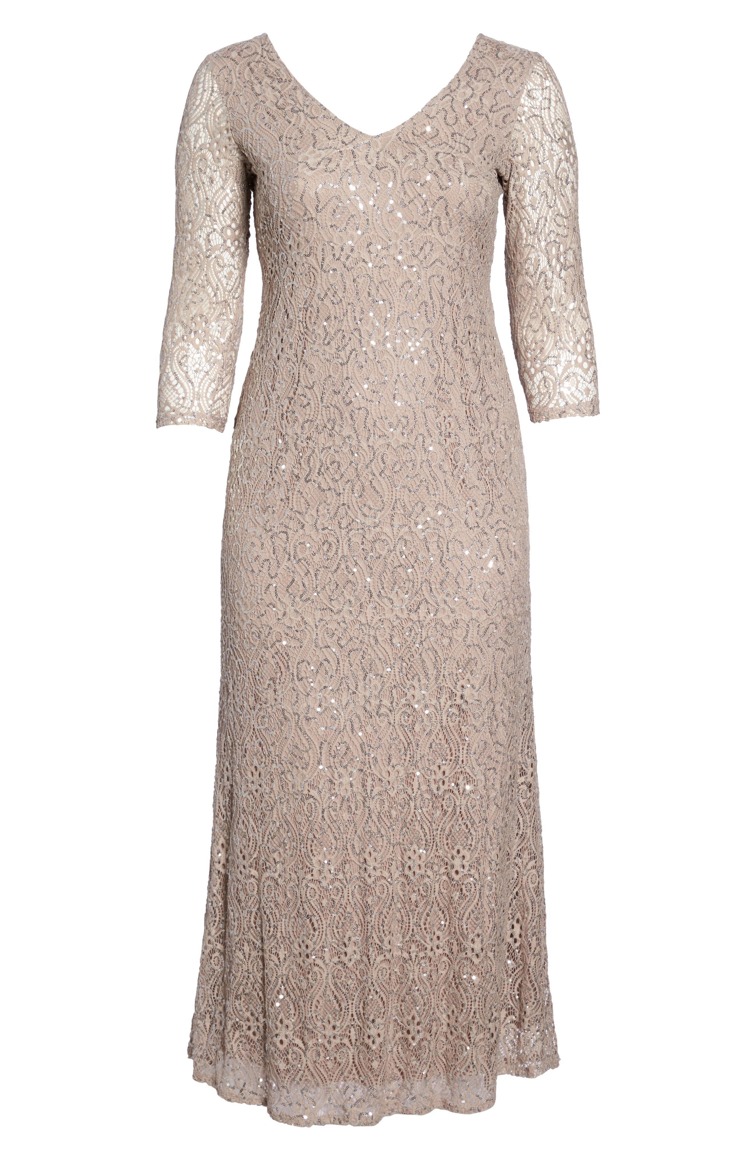 Sequin Lace A-Line Gown,                             Alternate thumbnail 6, color,                             Taupe