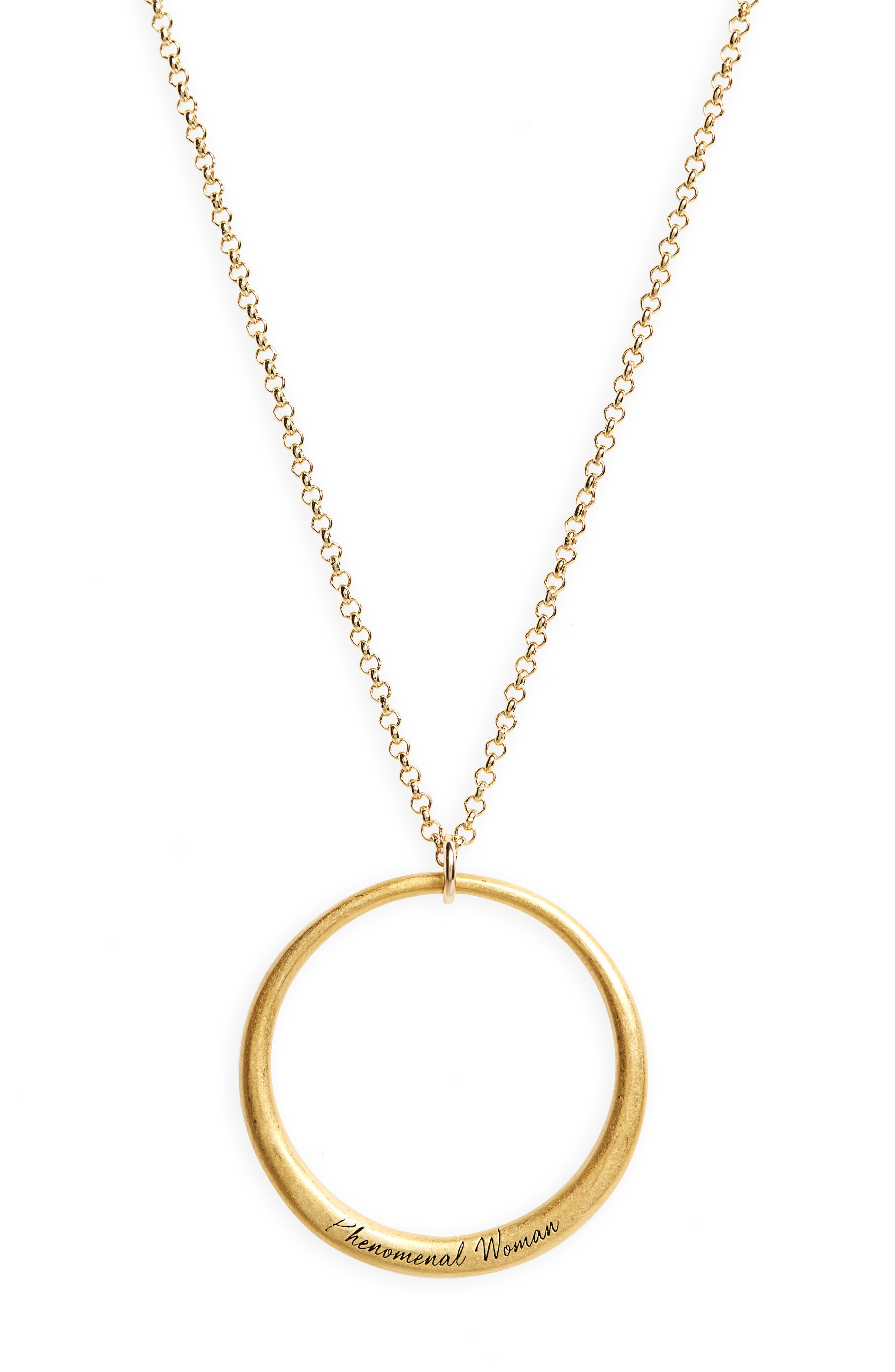 Legacy Collection - Phenomenal Women Open Circle Pendant Necklace,                             Alternate thumbnail 2, color,                             Gold