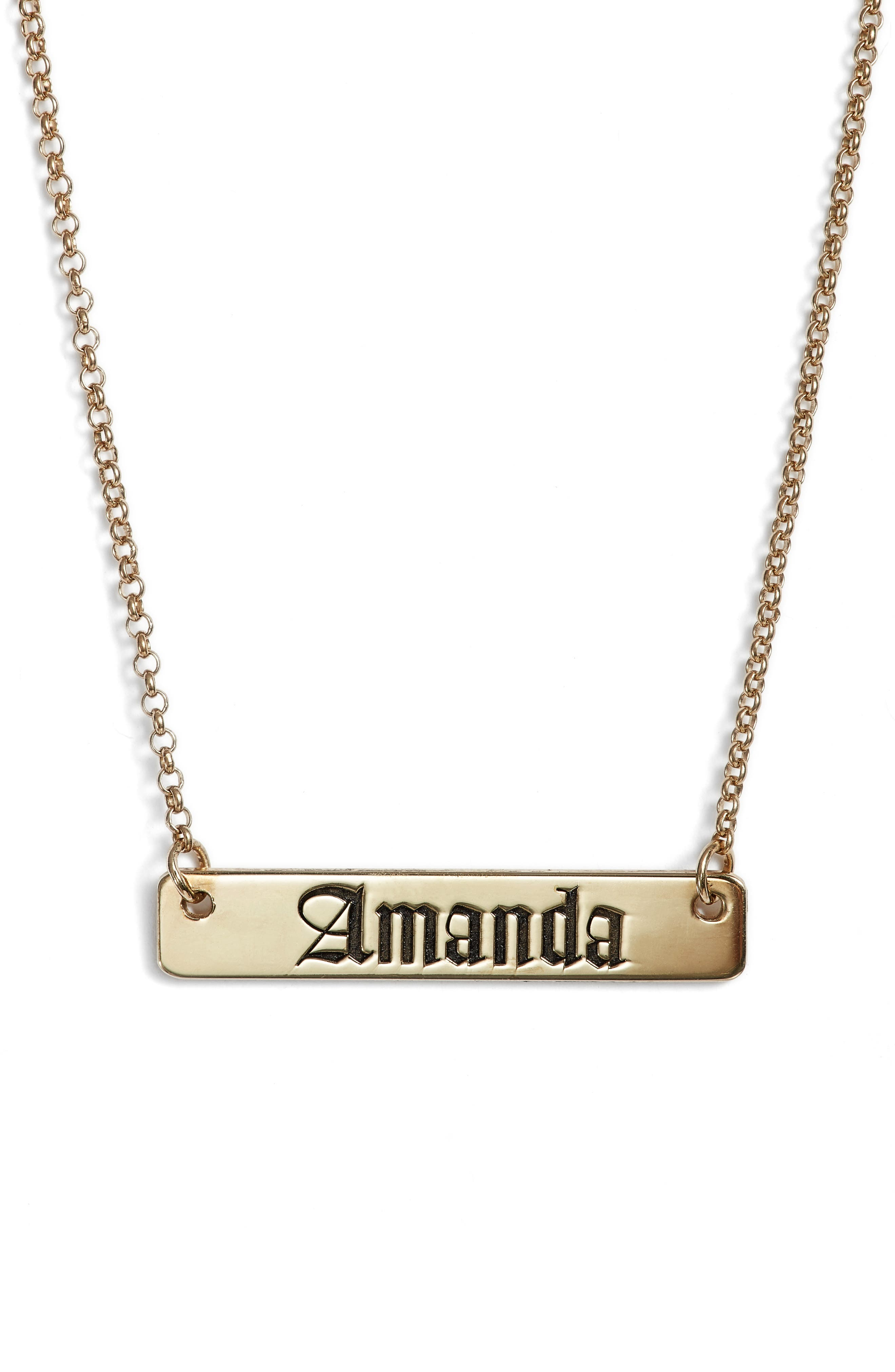 Personalized English Font Bar Necklace,                             Main thumbnail 1, color,                             Silver