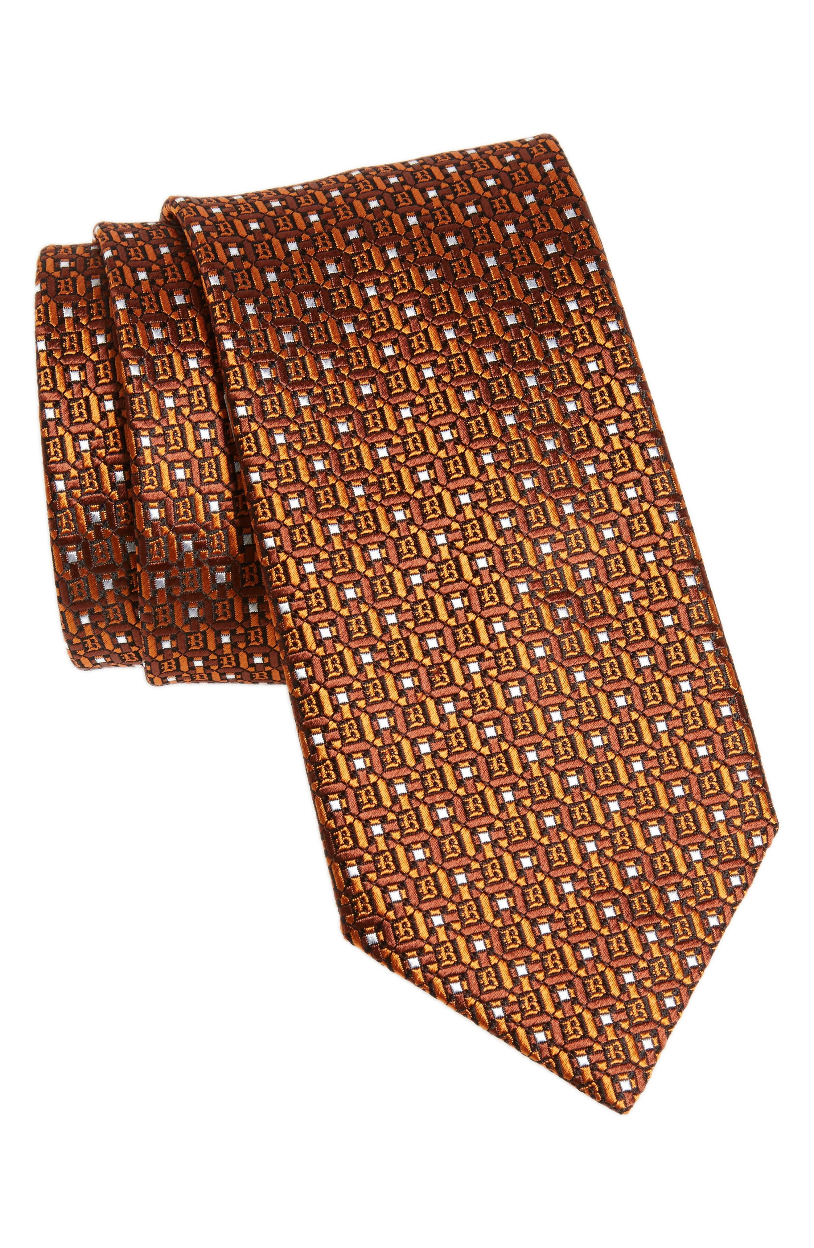 Geometric Silk Tie,                             Main thumbnail 1, color,                             Orange/ Brown