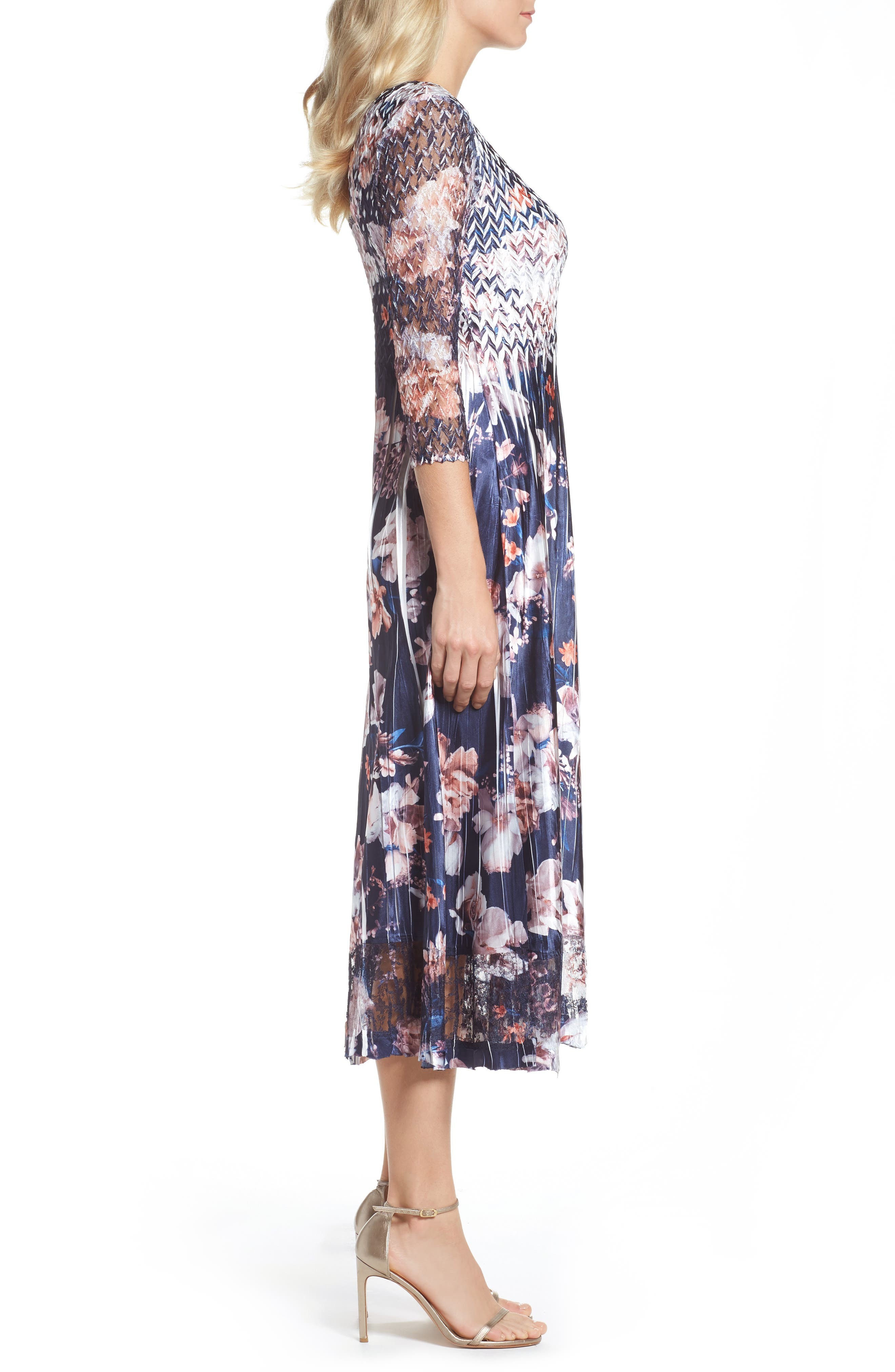 Print Charmeuse & Lace A-Line Dress,                             Alternate thumbnail 3, color,                             Amber Moon