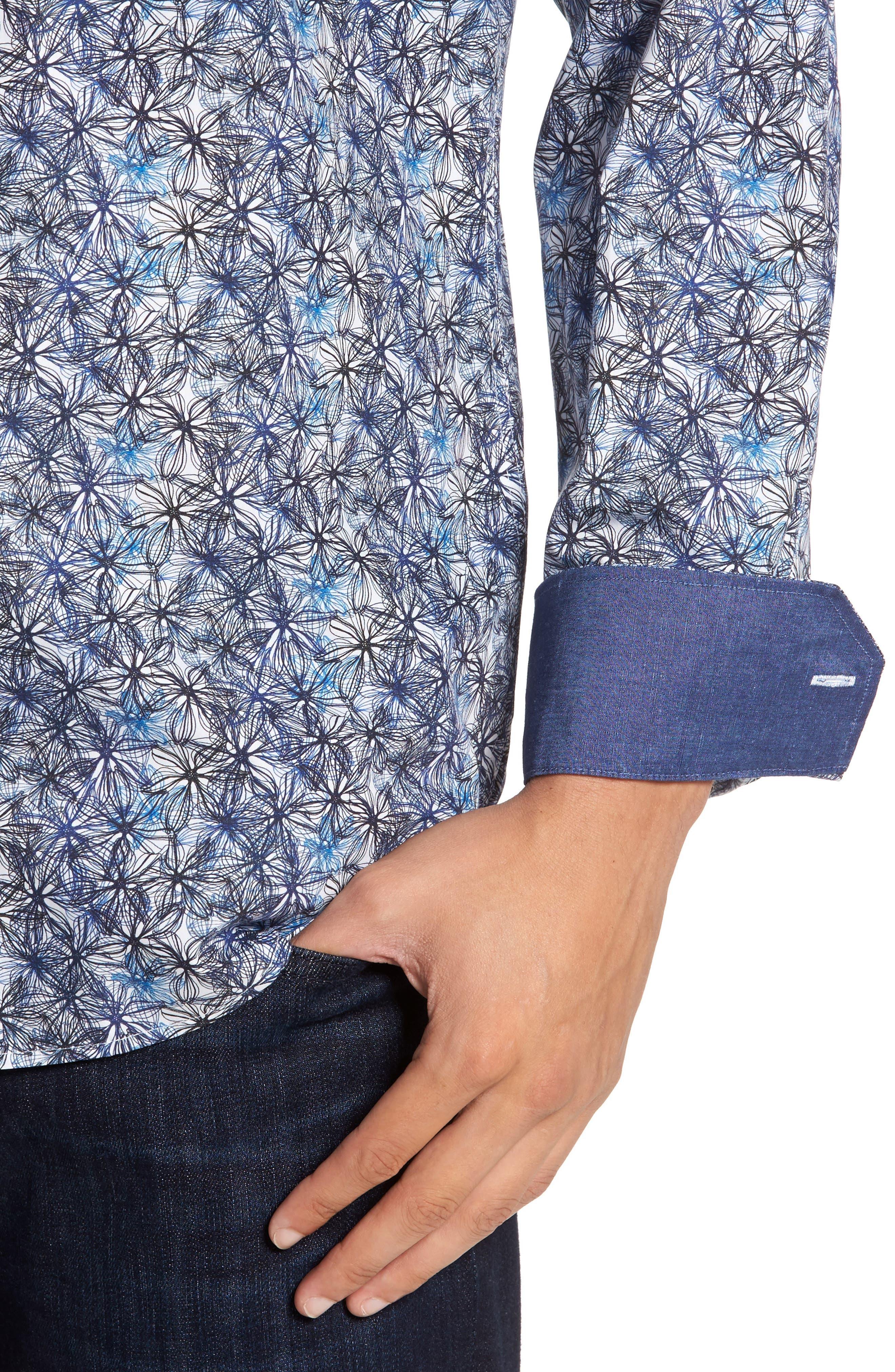 Alternate Image 4  - Bugatchi Trim Fit Print Sport Shirt