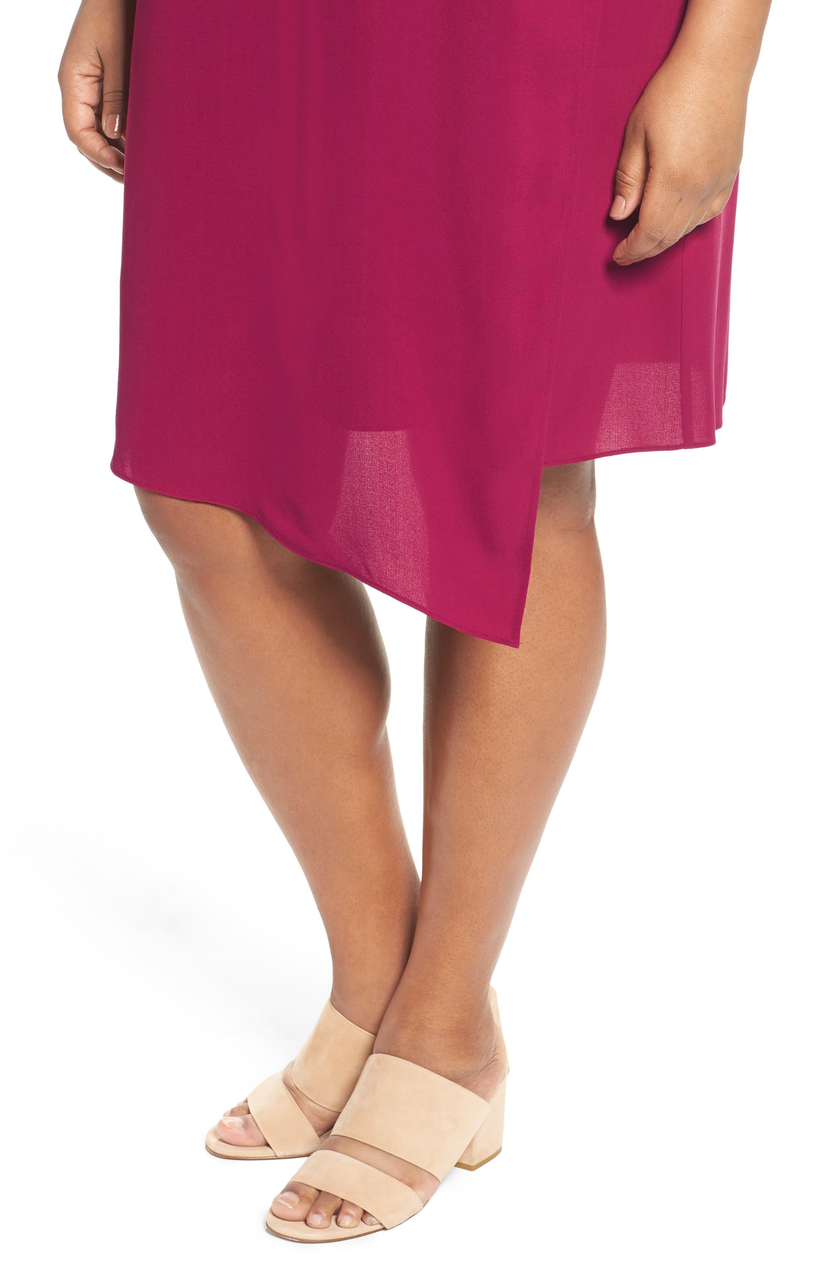 Asymmetrical Silk Shift Dress,                             Alternate thumbnail 4, color,                             Hibiscus
