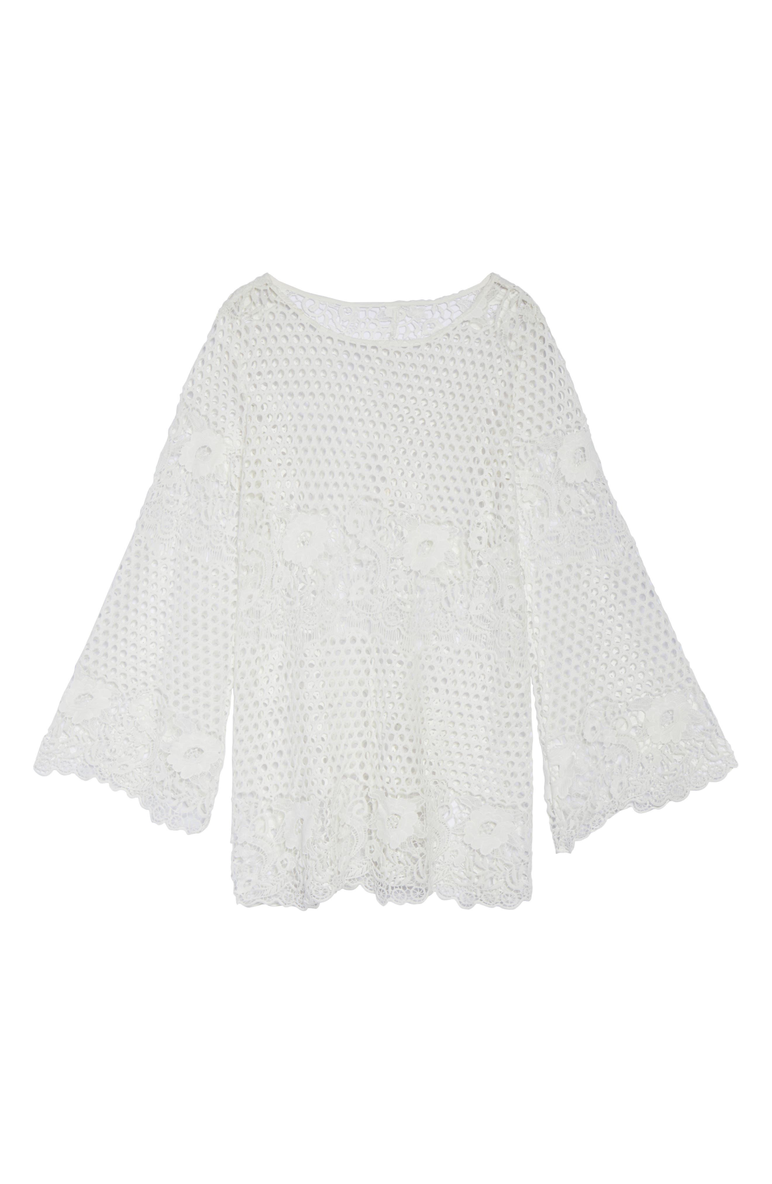 Crochet Cover-Up,                             Alternate thumbnail 6, color,                             White