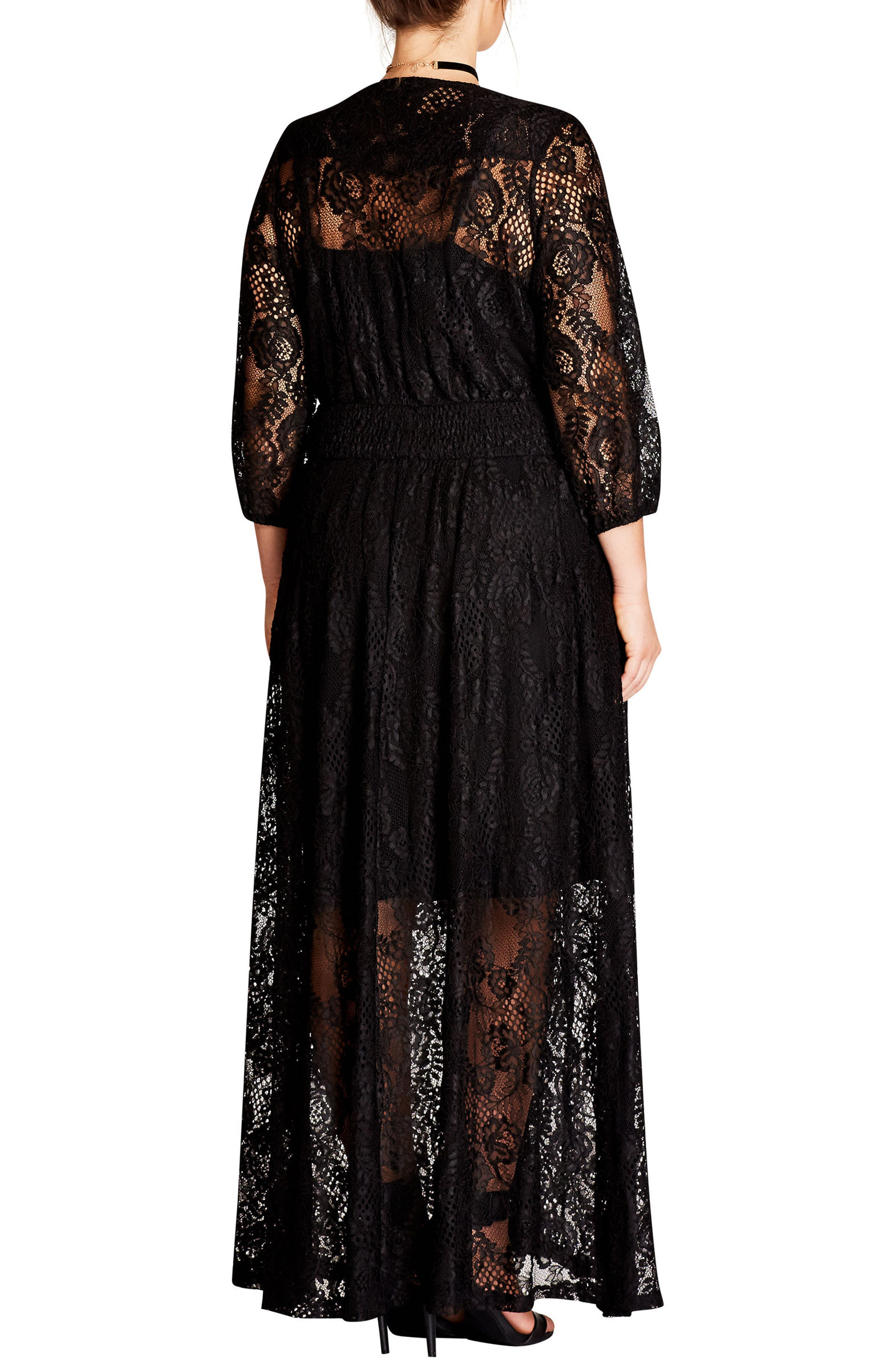Alternate Image 2  - City Chic Divine Creation Lace Maxi Dress (Plus Size)