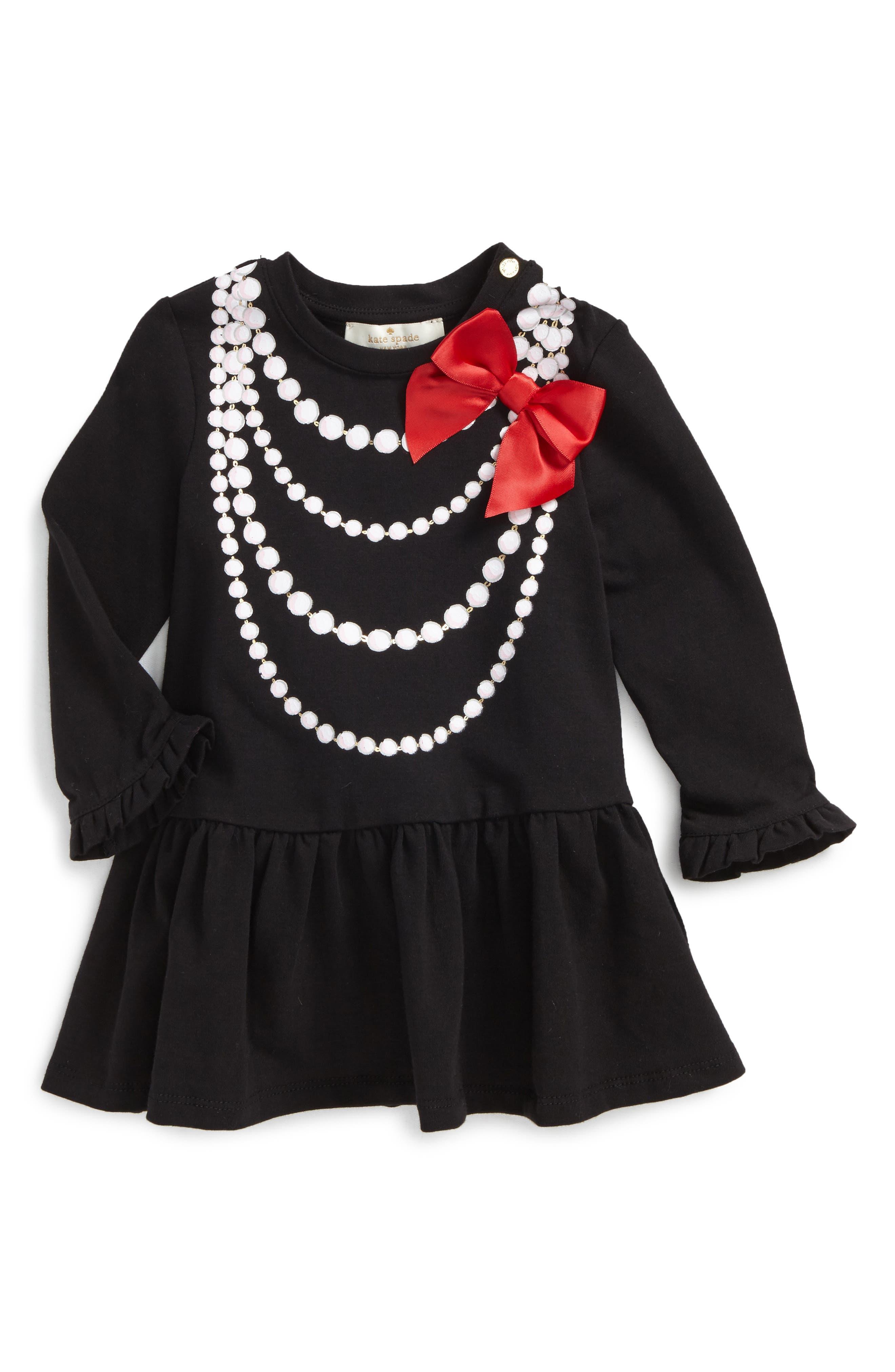 trompe l'oiel dress,                         Main,                         color, Black