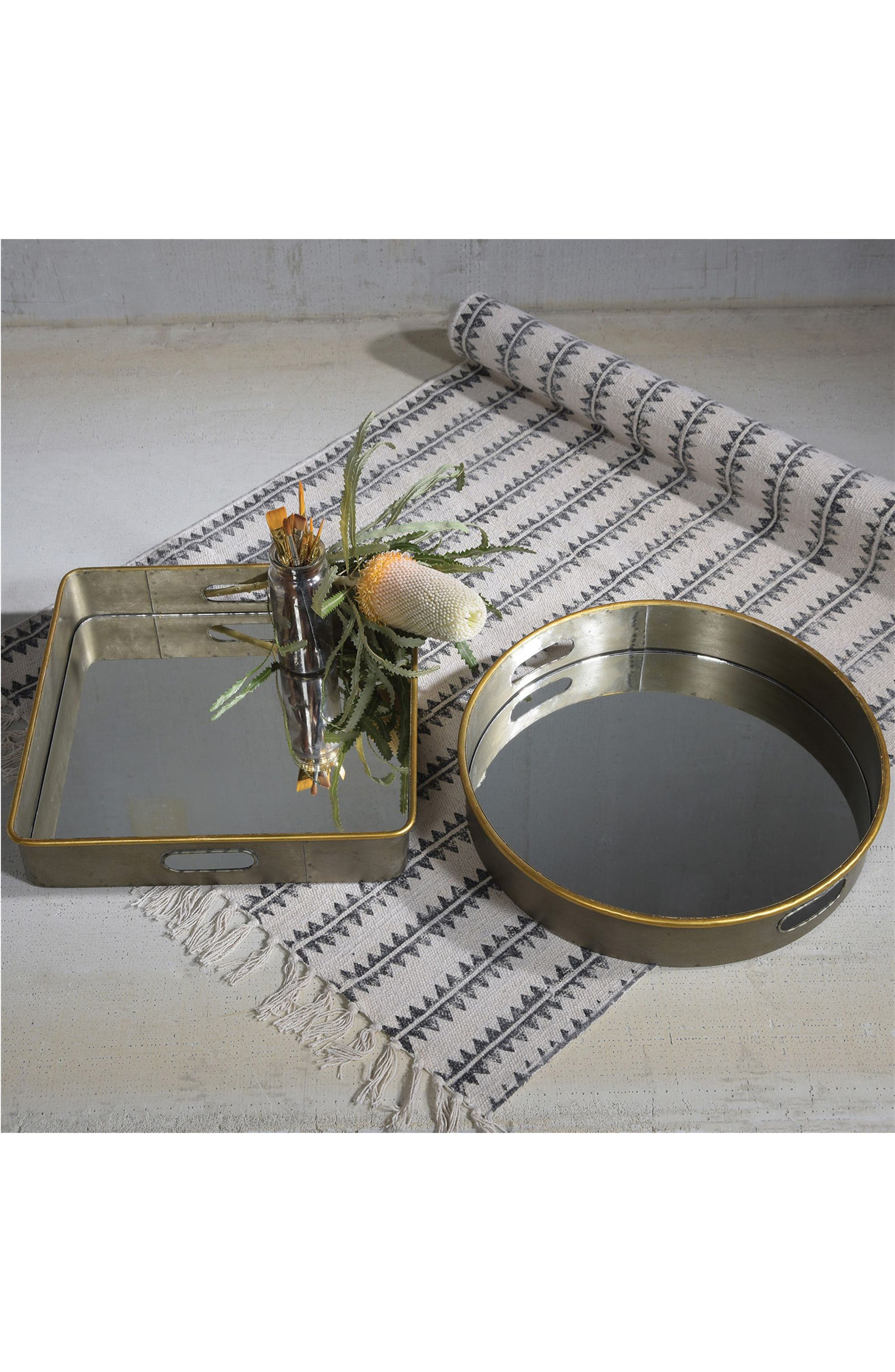 Costa Mirror Tray,                             Alternate thumbnail 2, color,                             Galvanized With Gold Rim