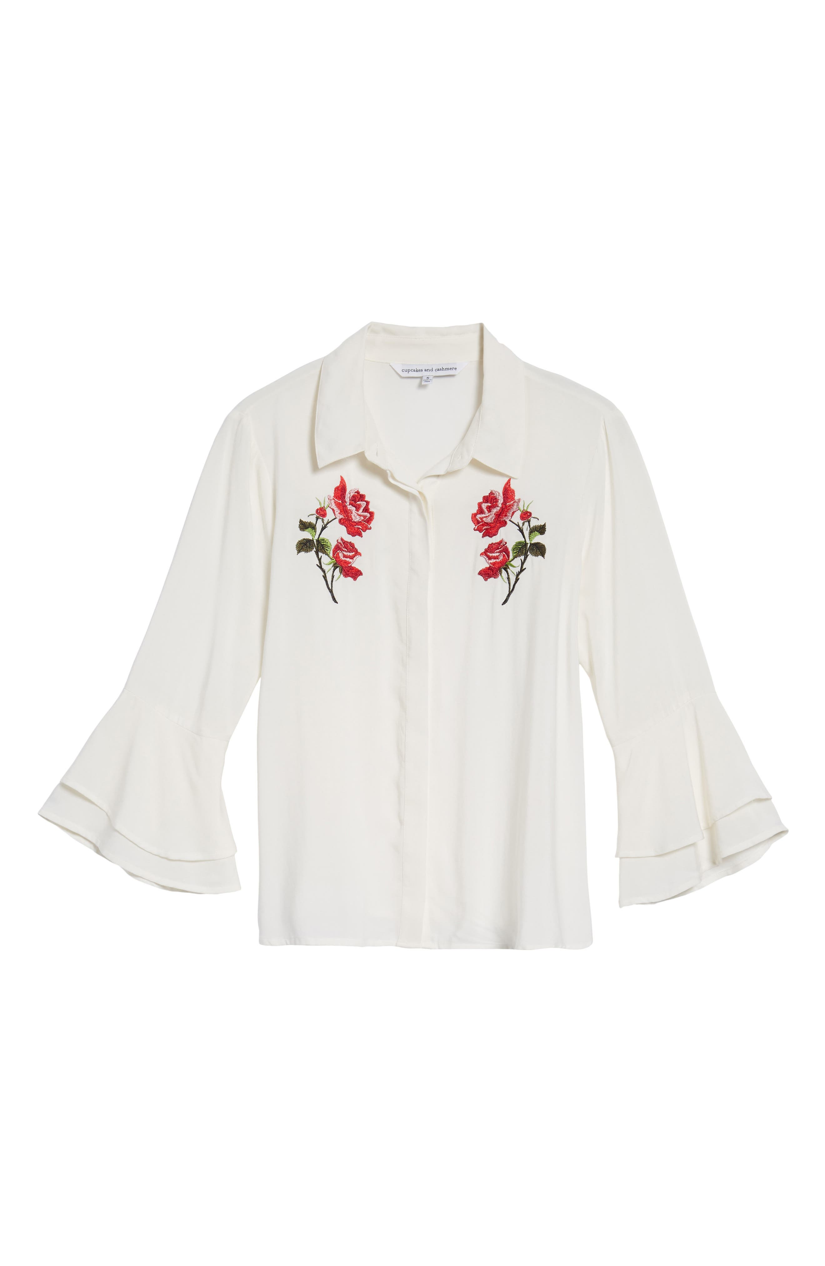 Kymberly Embroidered Blouse,                             Alternate thumbnail 6, color,                             Ivory