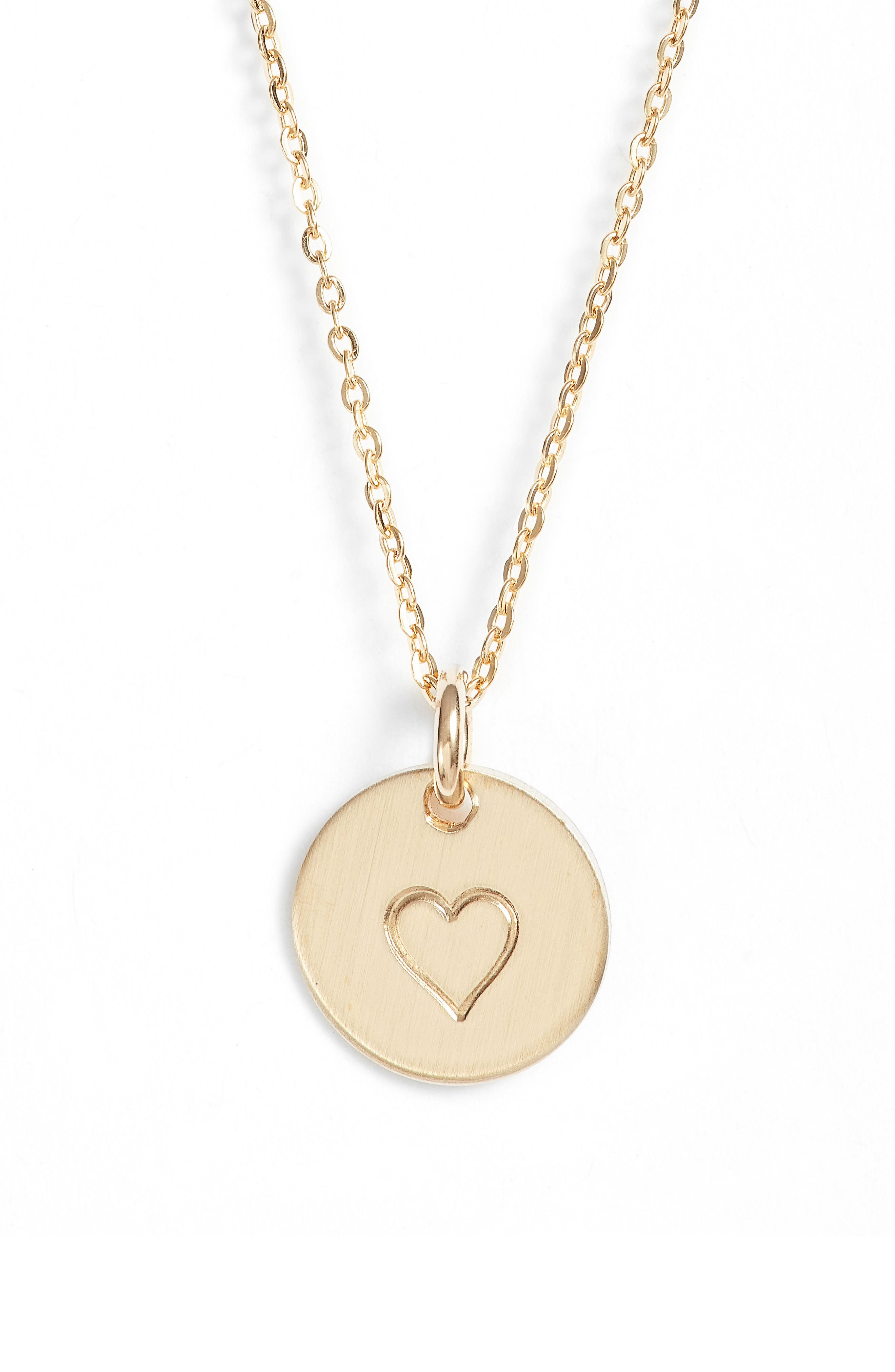 Heart Stamped Disc Necklace,                             Alternate thumbnail 2, color,                             Gold