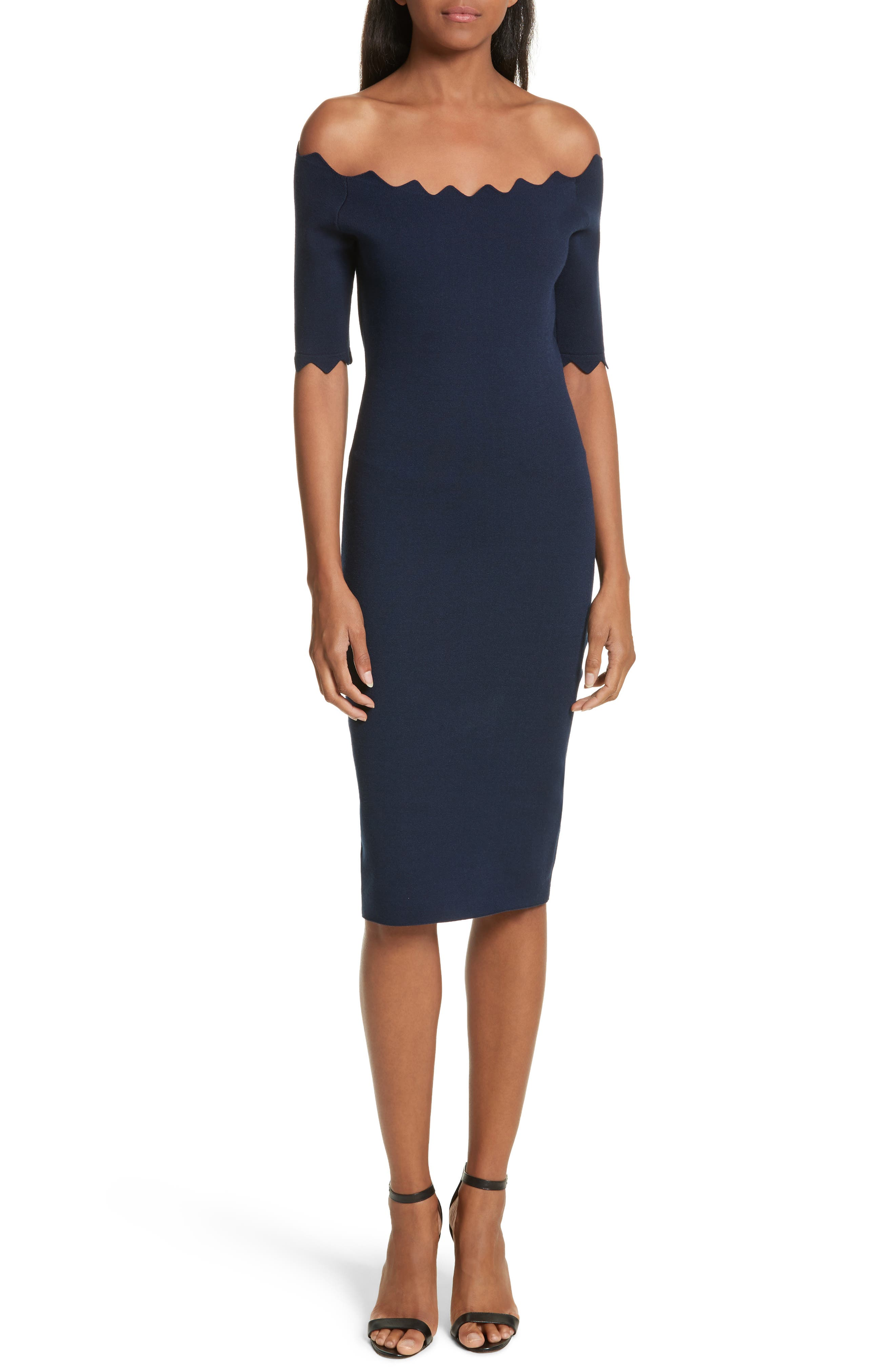 Scalloped Off the Shoulder Sheath Dress,                         Main,                         color, Navy