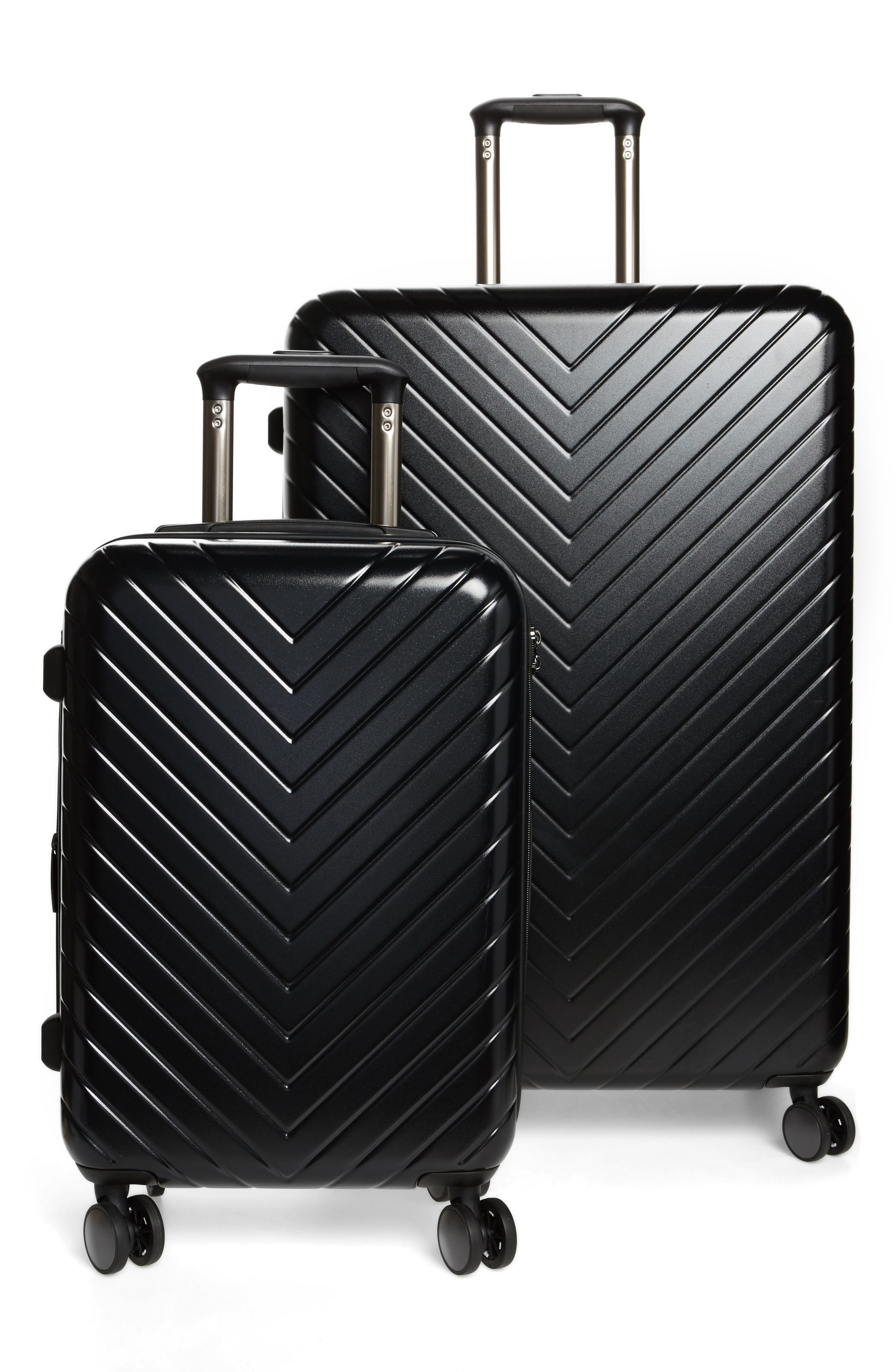 Chevron 29-Inch Spinner Suitcase,                             Alternate thumbnail 4, color,                             Black