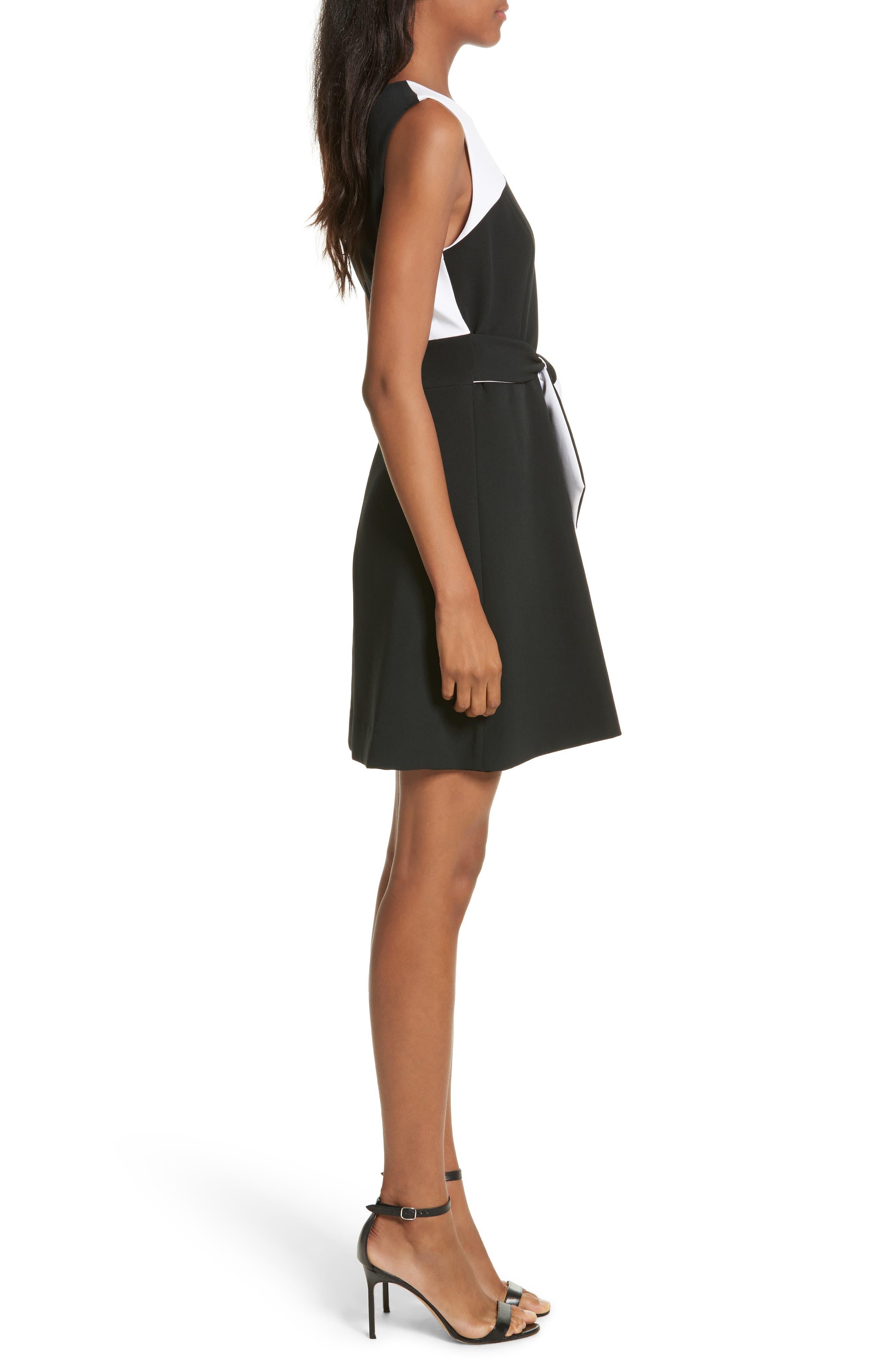 Jenny Stretch Crepe Fit & Flare Dress,                             Alternate thumbnail 3, color,                             White/ Black